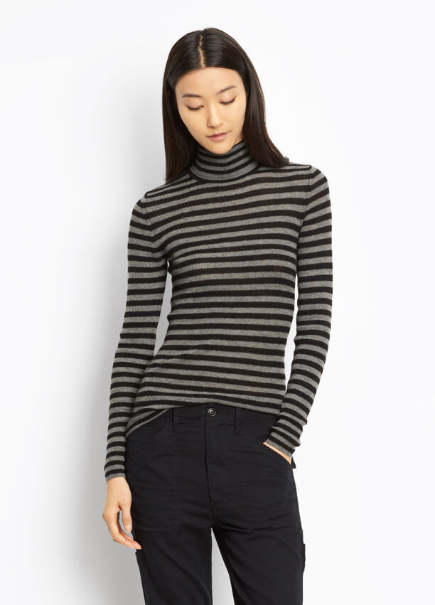 a90f610c95 Cashmere Striped Skinny Rib Turtleneck for Women | Vince