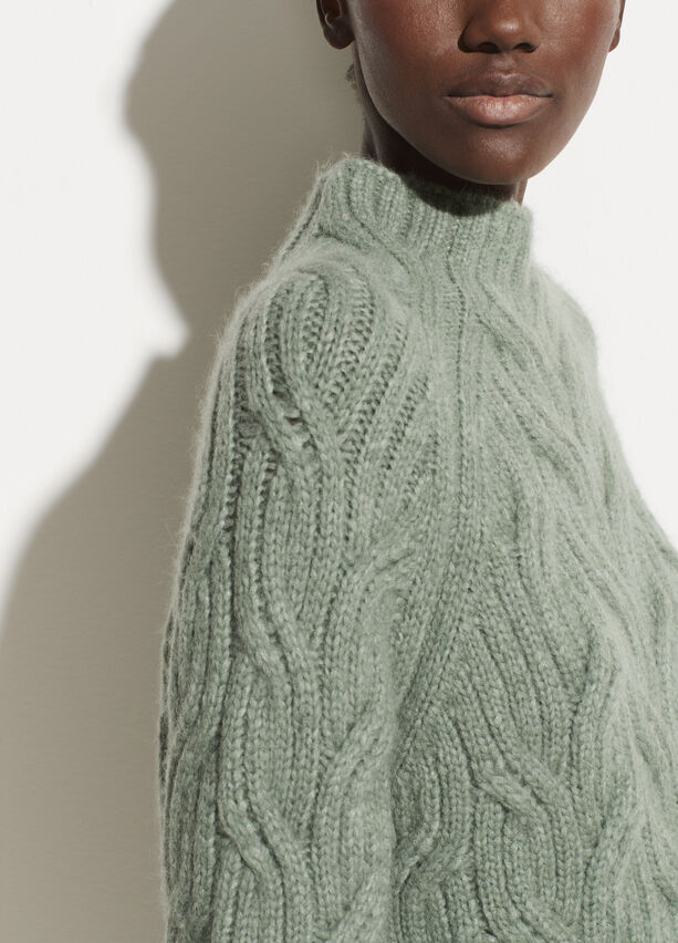 Vince Alpaca Twisted Cable Turtleneck