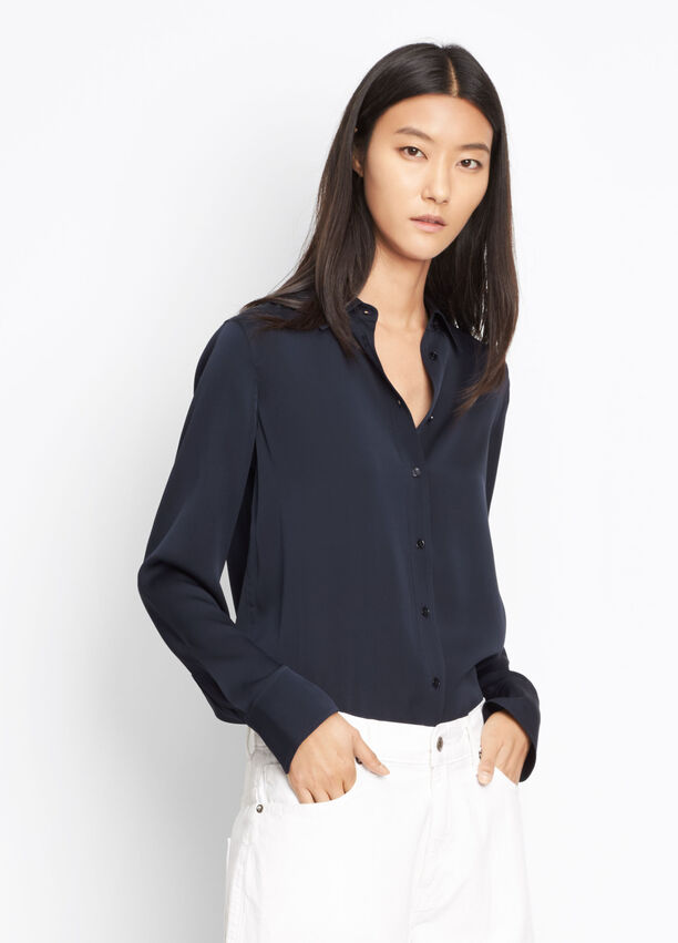 4348148393a3 Stretch Silk Slim Fitted Blouse for Women