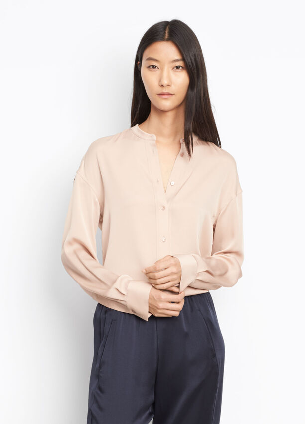 cd2270ef88cb03 Stretch Silk Pintuck Placket Blouse for Women