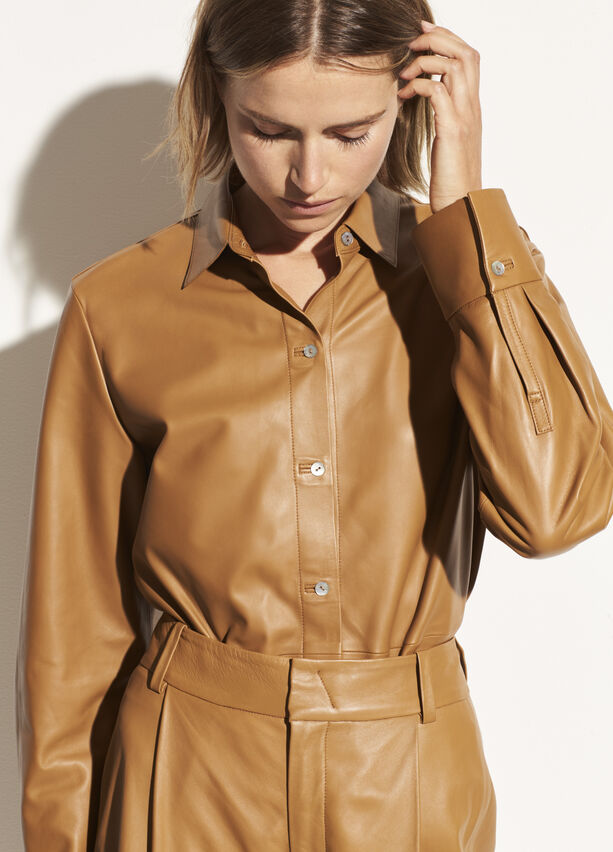 leather-shirt by vince