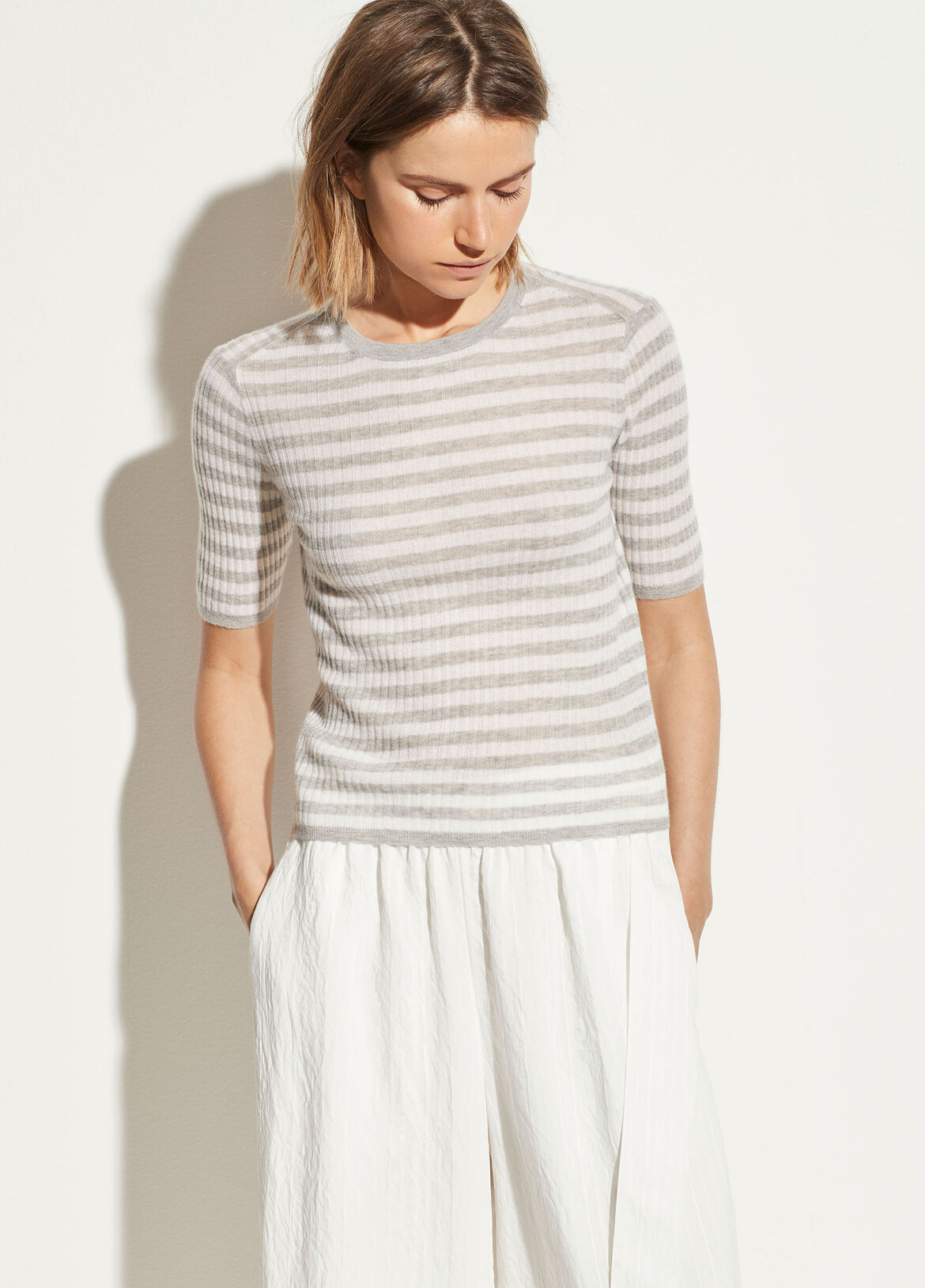 e9234e0c1d5f9c Striped Cashmere Elbow Sleeve Pullover. $265.00. More Colors
