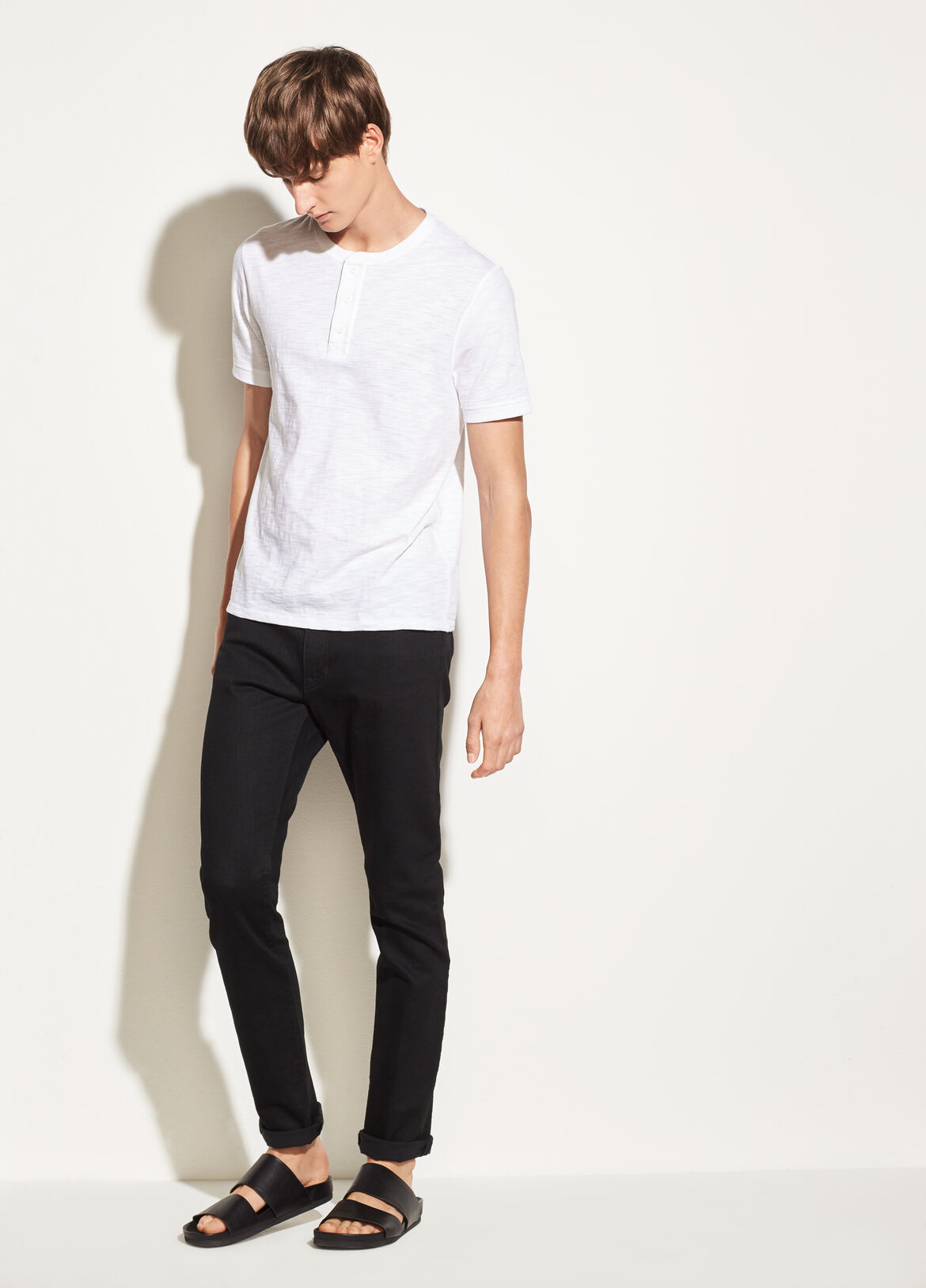 빈스 Vince Slub Cotton Short Sleeve Henley,SPHERE