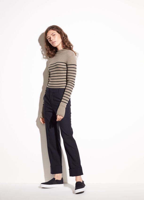 c198aa710 Cuffed Coin Pocket Stretch-Wool Trouser for Women | Vince