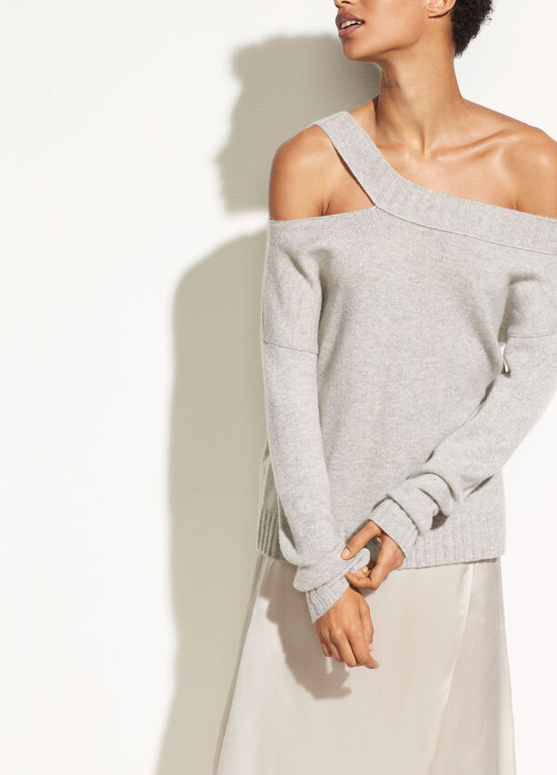 Off Shoulder Slit Pullover by Vince