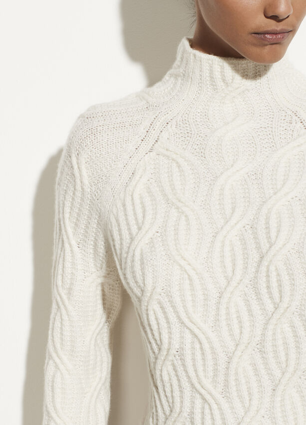 Vince Cashmere Twisted Cable Turtleneck