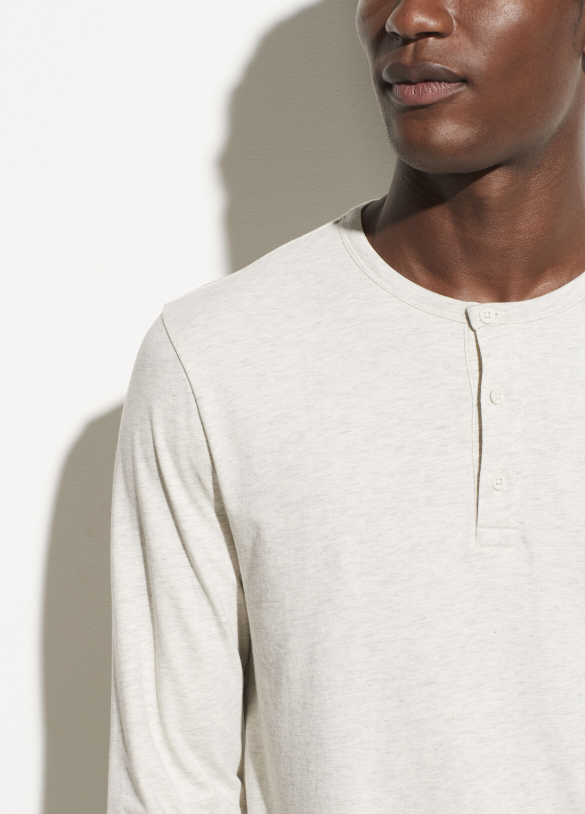 빈스 Vince Double Layer Henley,HEATHER WHITE/OFF WHITE