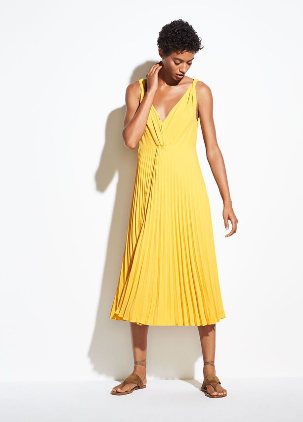 Pleated Twist Front Dress by Vince