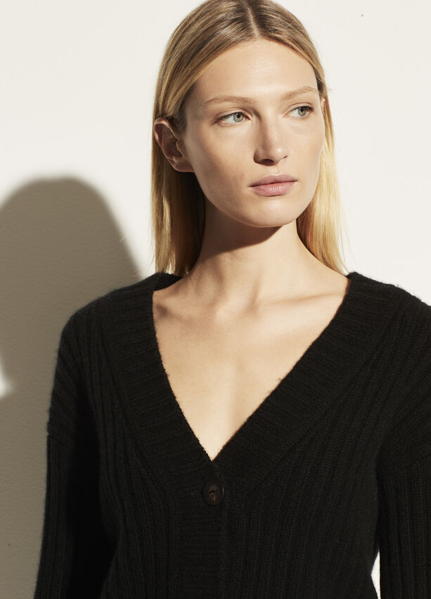 Vince Open Neck Ribbed Cashmere Cardigan
