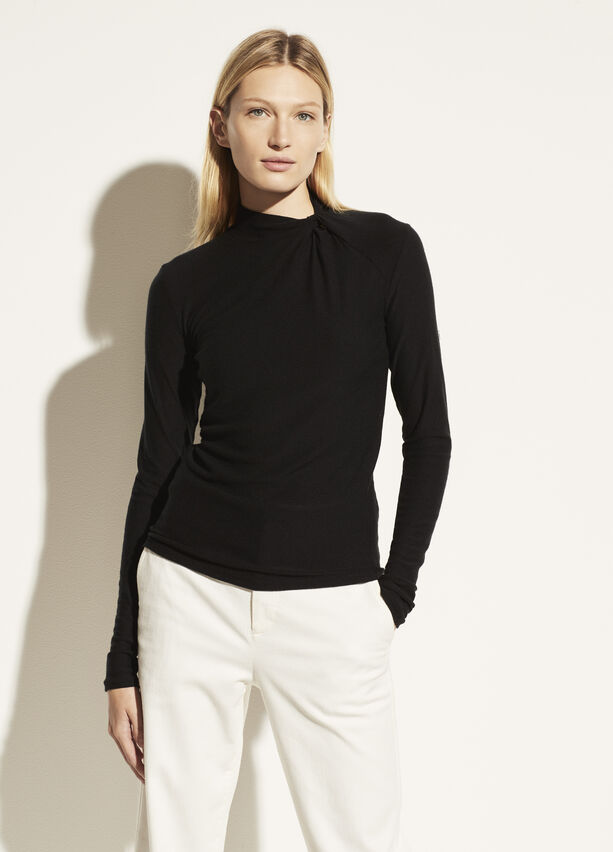 Vince Long Sleeve Twist Mock Neck