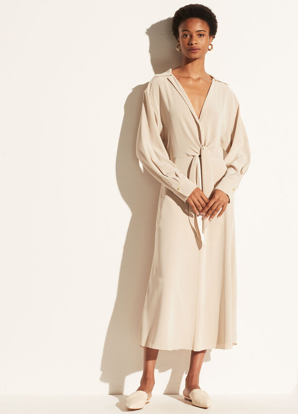 Vince Long Sleeve Shaped Collar Tie Front Dress