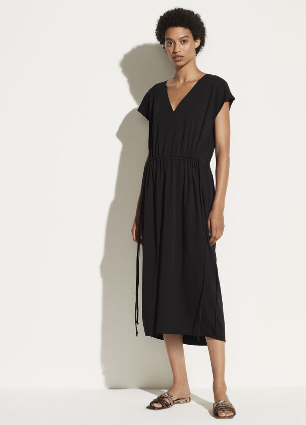 Vince Popover V Neck Tiered Dress