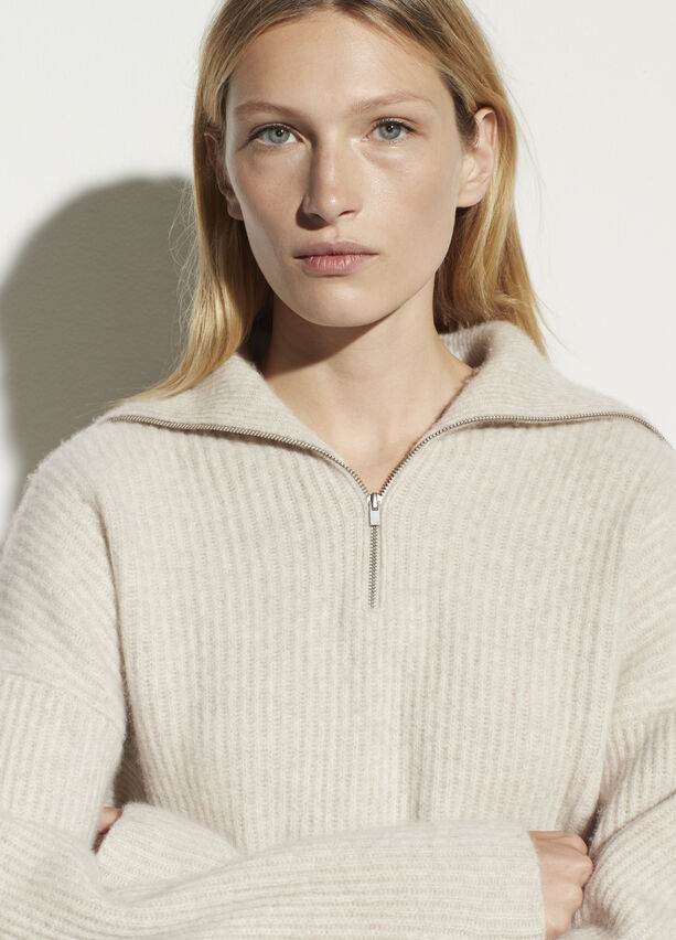 Vince Half Zip Ribbed Pullover