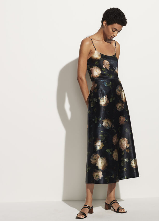 Vince Painted Rose Satin Slip Skirt