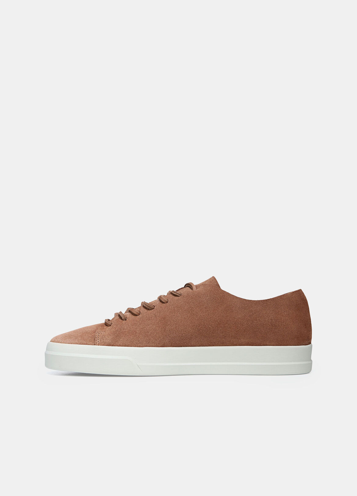 Crafted in supple suede with a smooth interior, these lace-up sneakers have tonal laces and a raw edge topline.