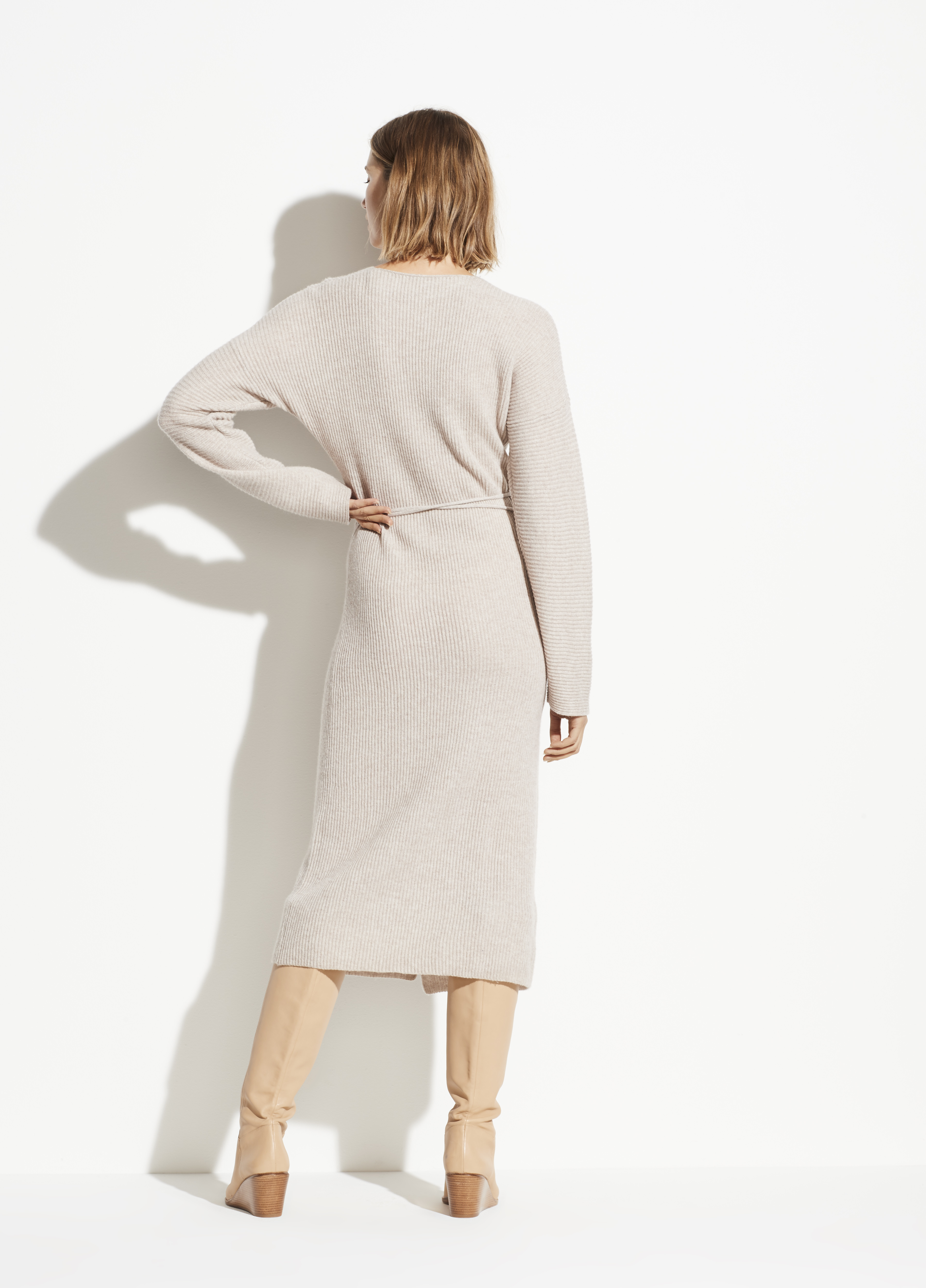 Wool Cashmere Ribbed Wrap Dress