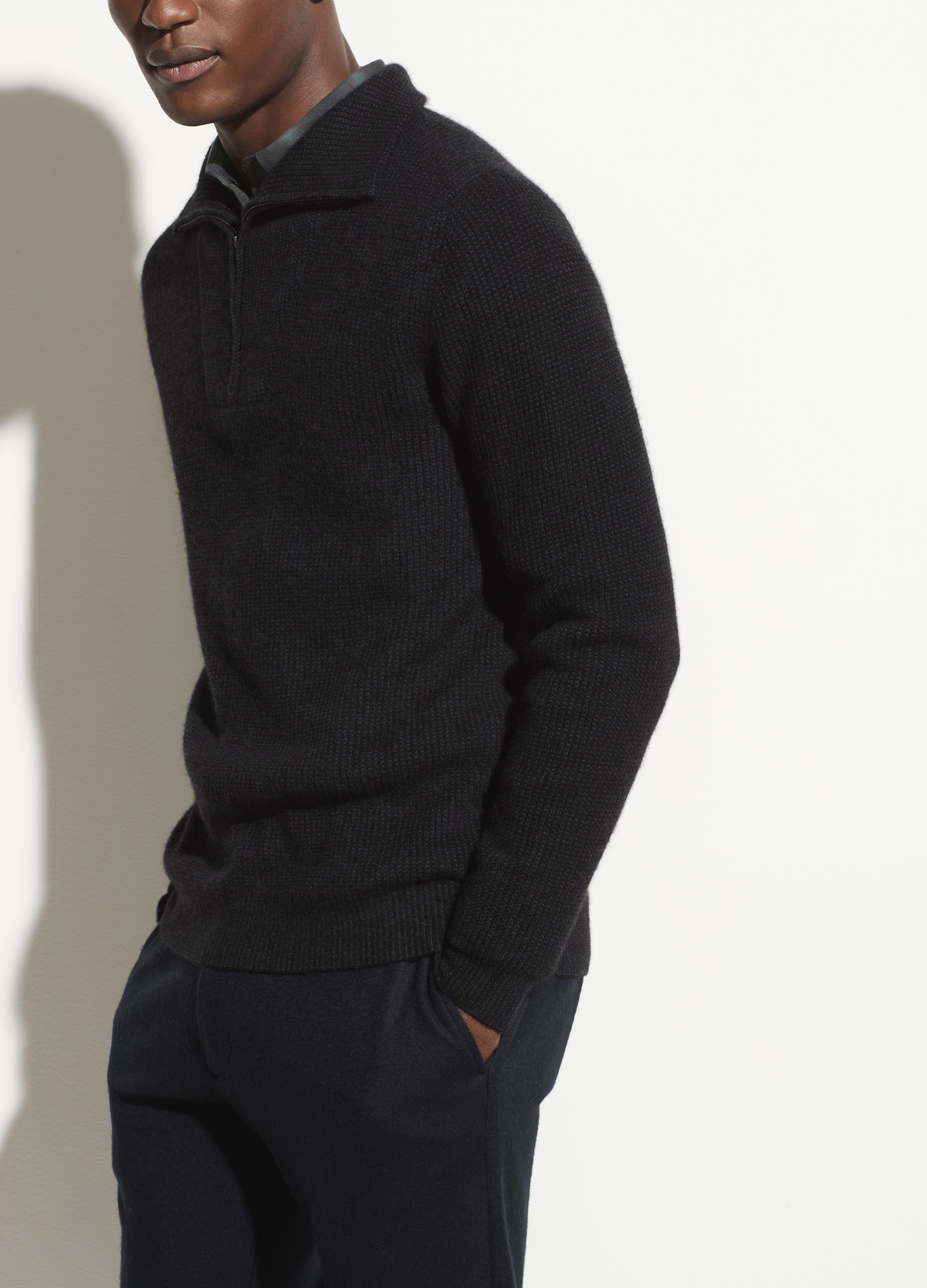 Boiled Cashmere Quarter Zip Sweater