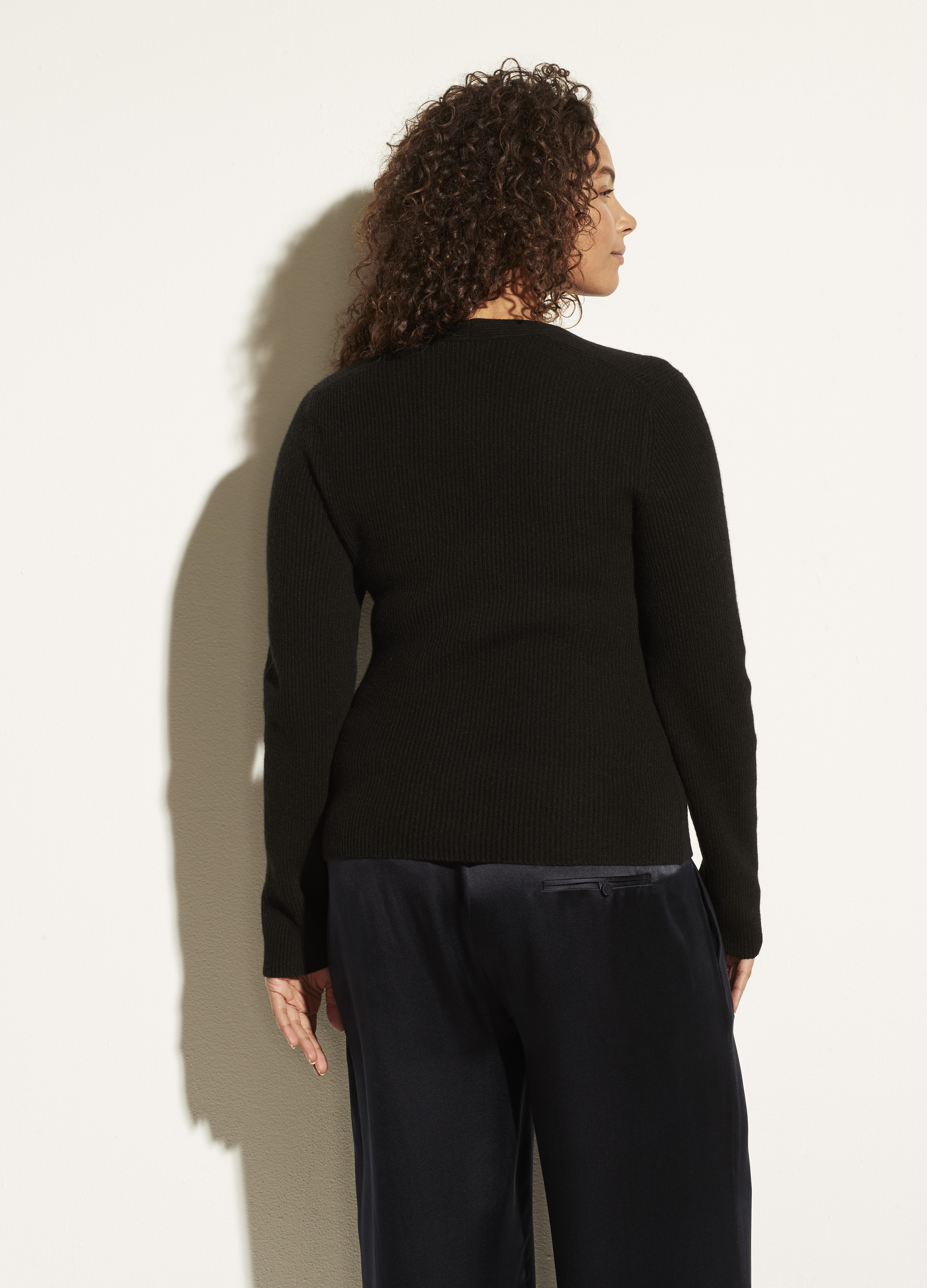 Cashmere Ribbed Square Neck Long Sleeve