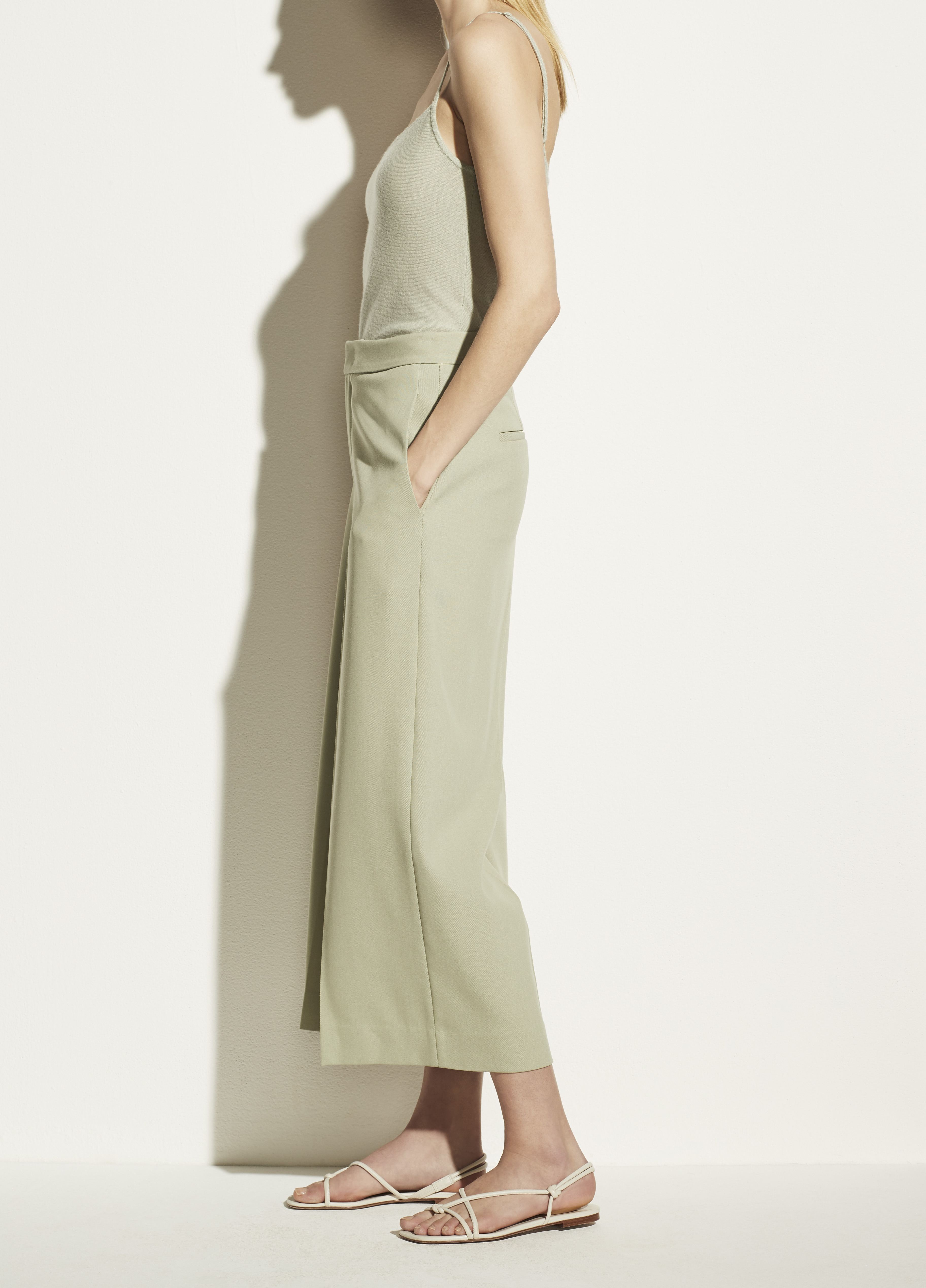 Twill Crop Wide Leg Pant