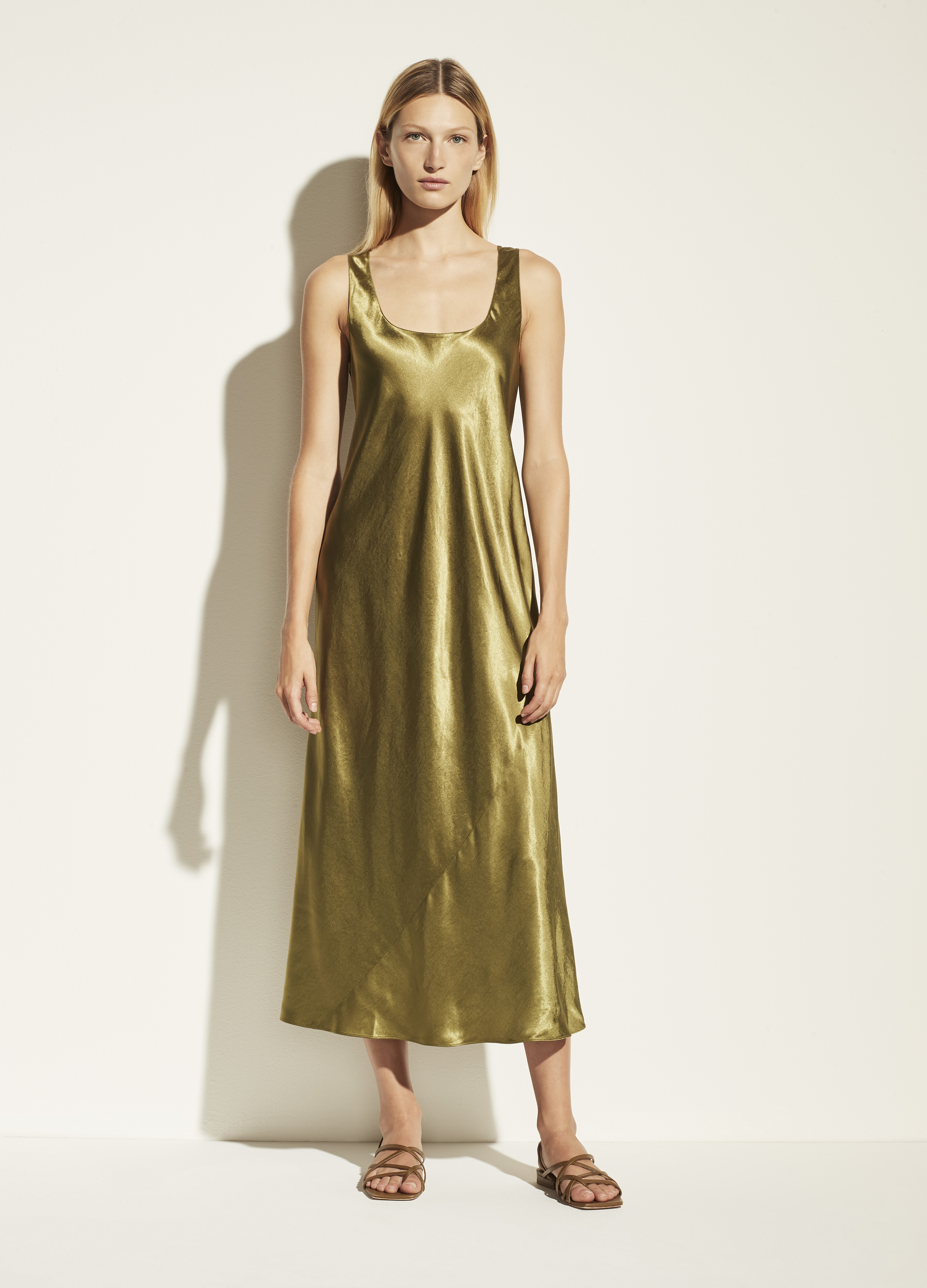 Square Neck Satin Tank Dress