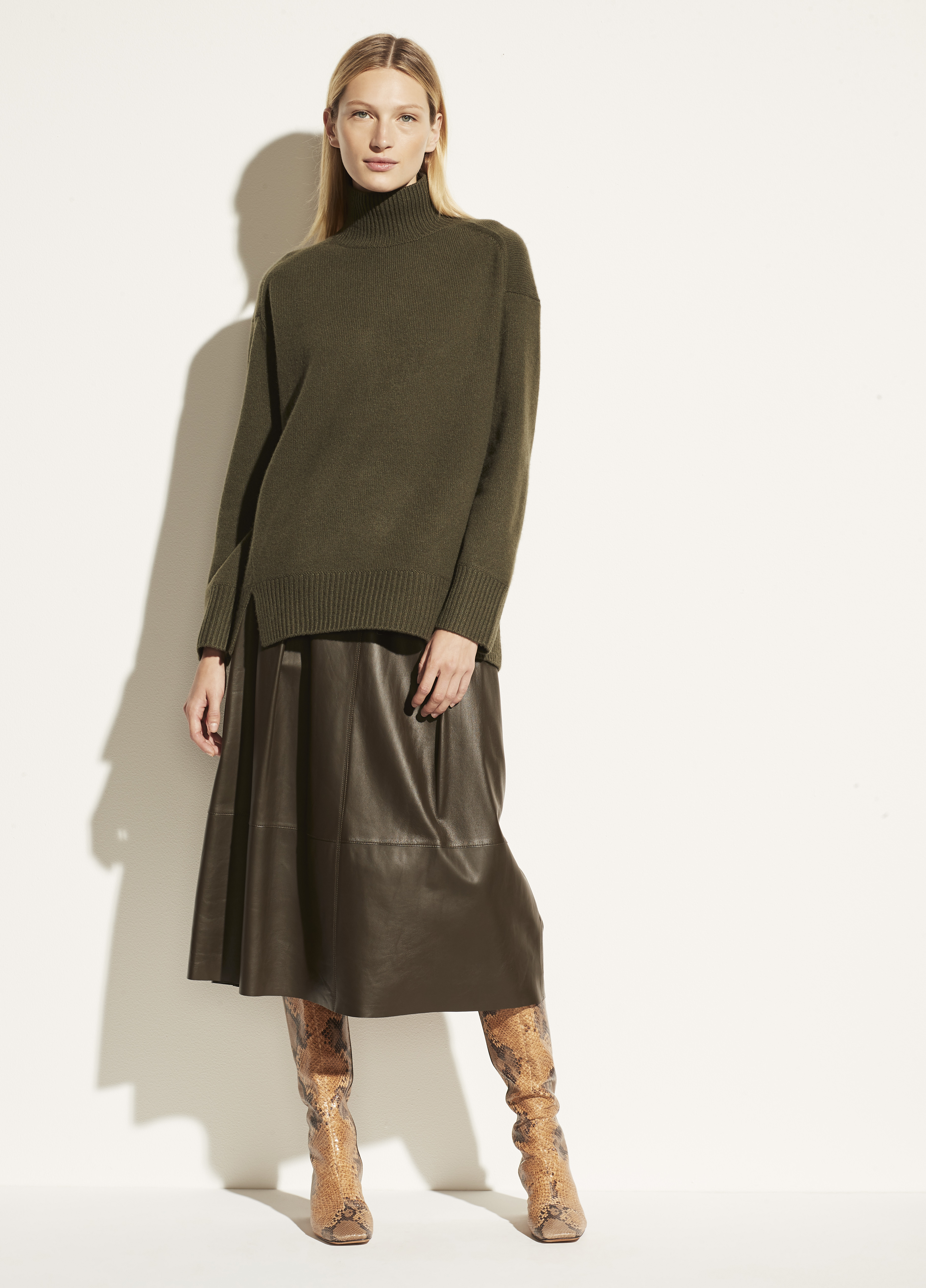 Cashmere Double Slit Turtleneck