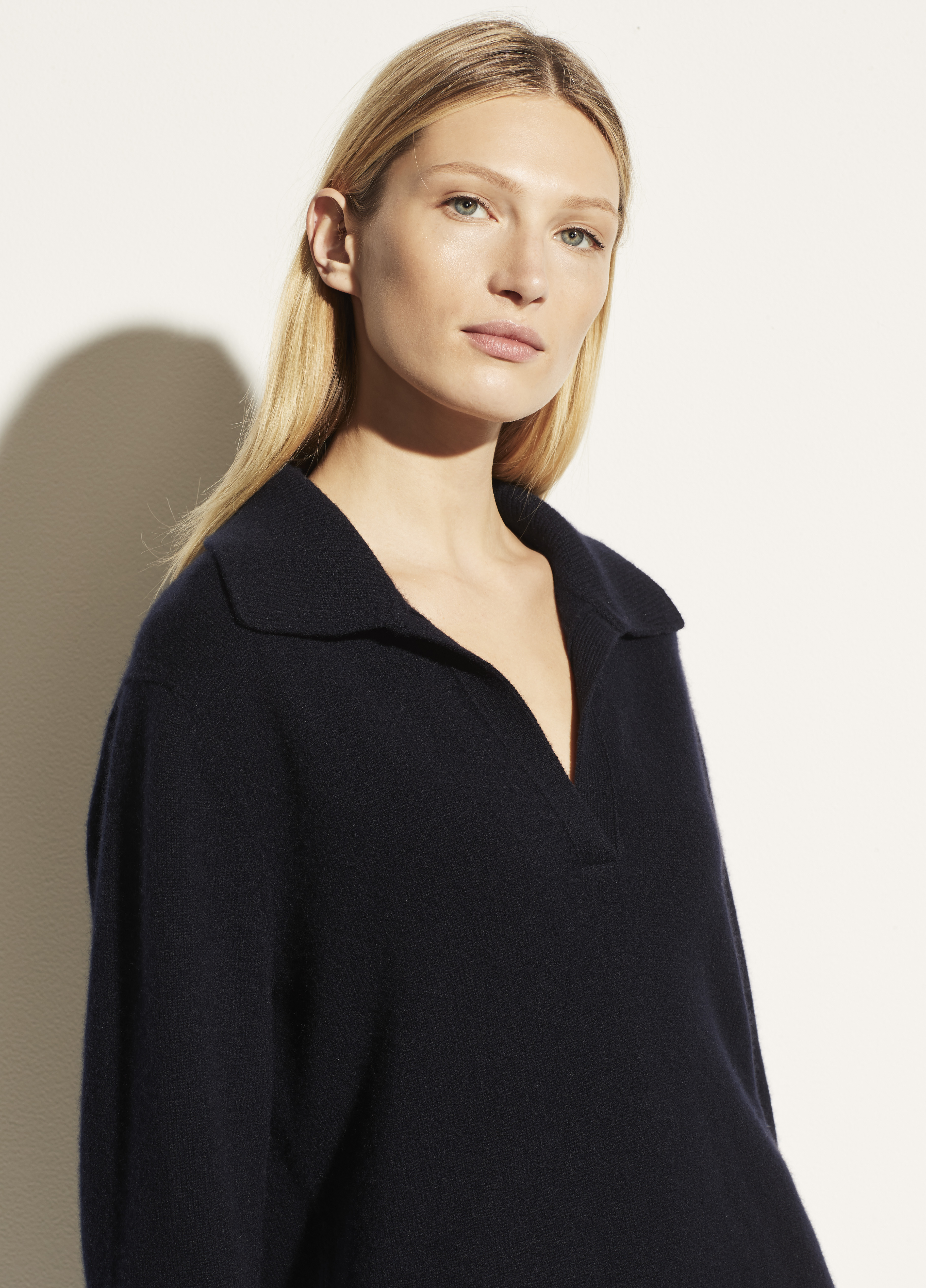 Wool Cashmere Open Neck Polo