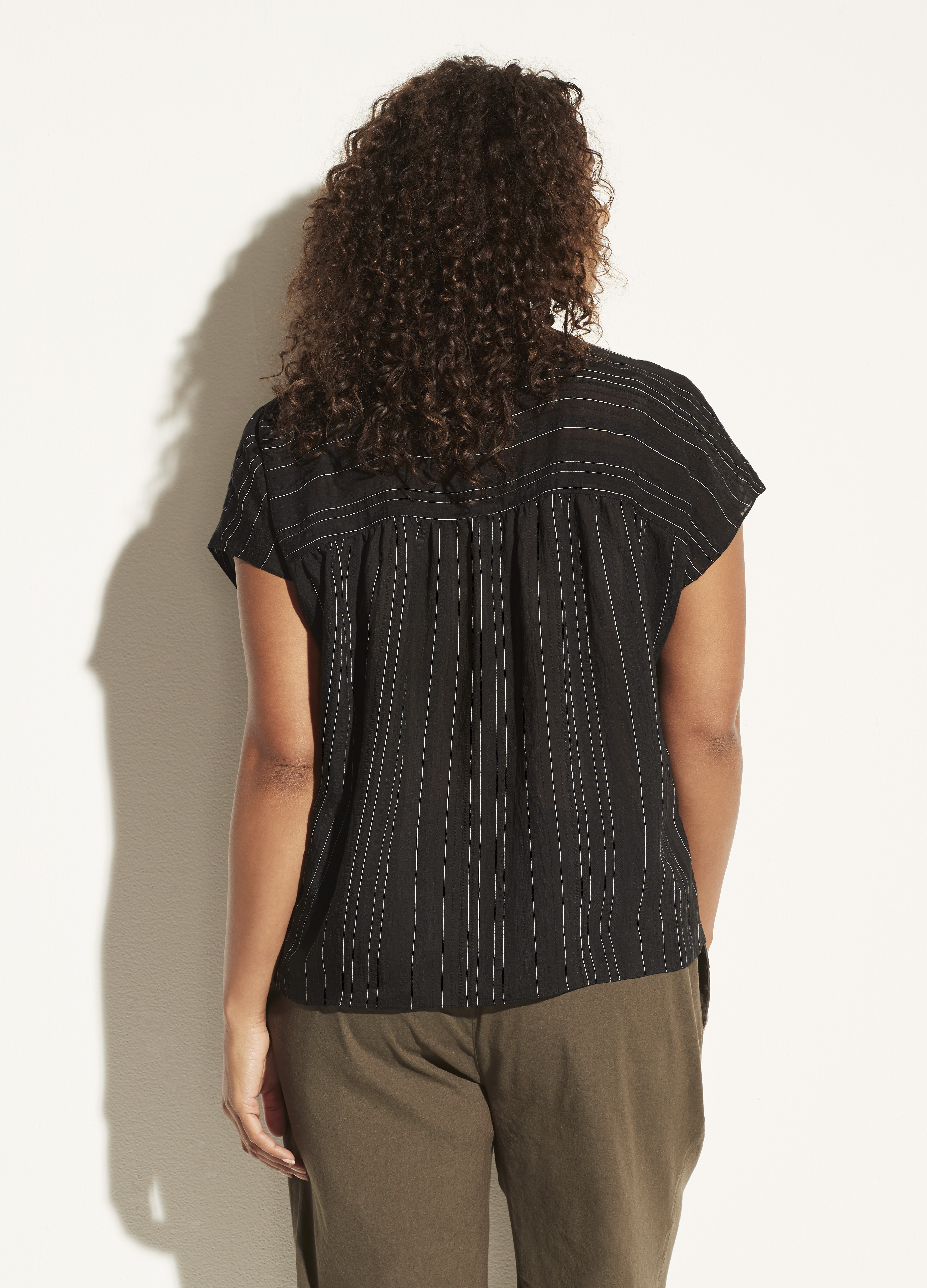 Drapey Stripe Sleeveless Band Collar Popover