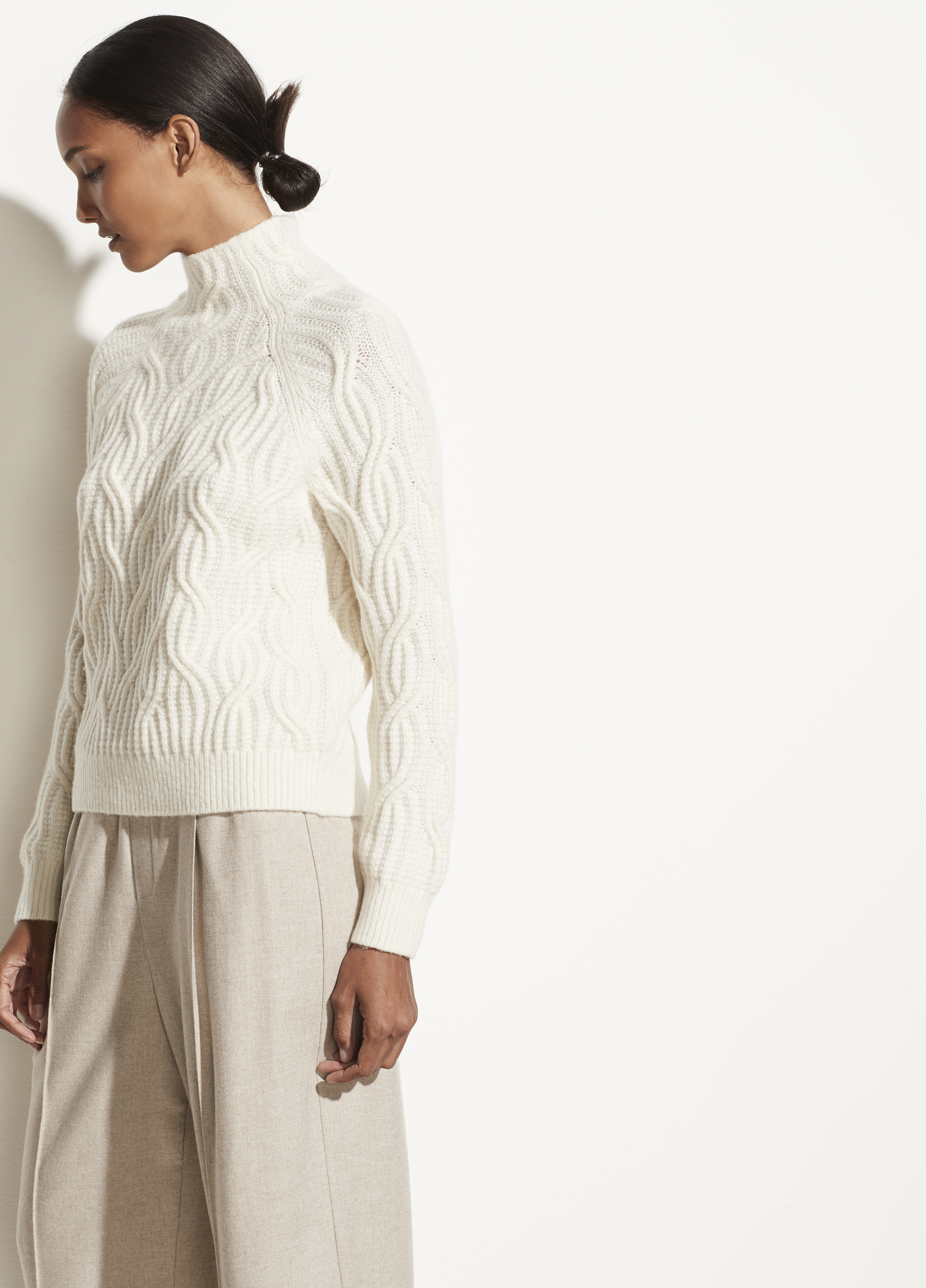 Cashmere Twisted Cable Turtleneck