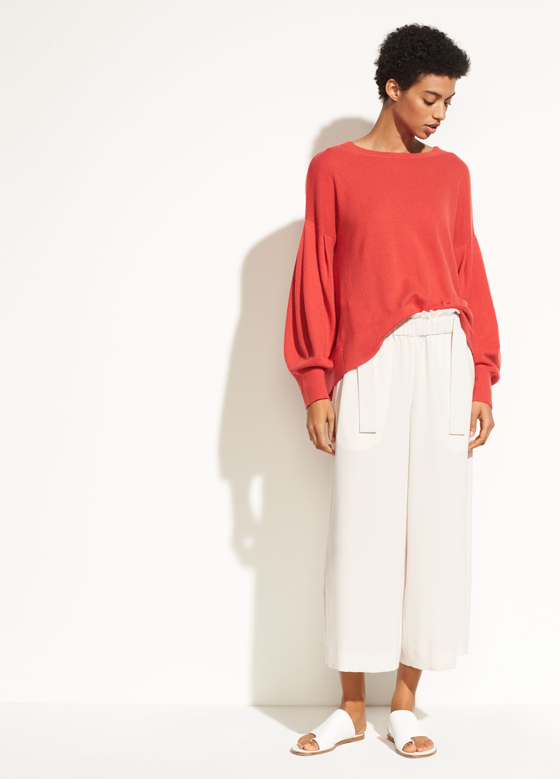 Pleated Sleeve Cashmere Crew