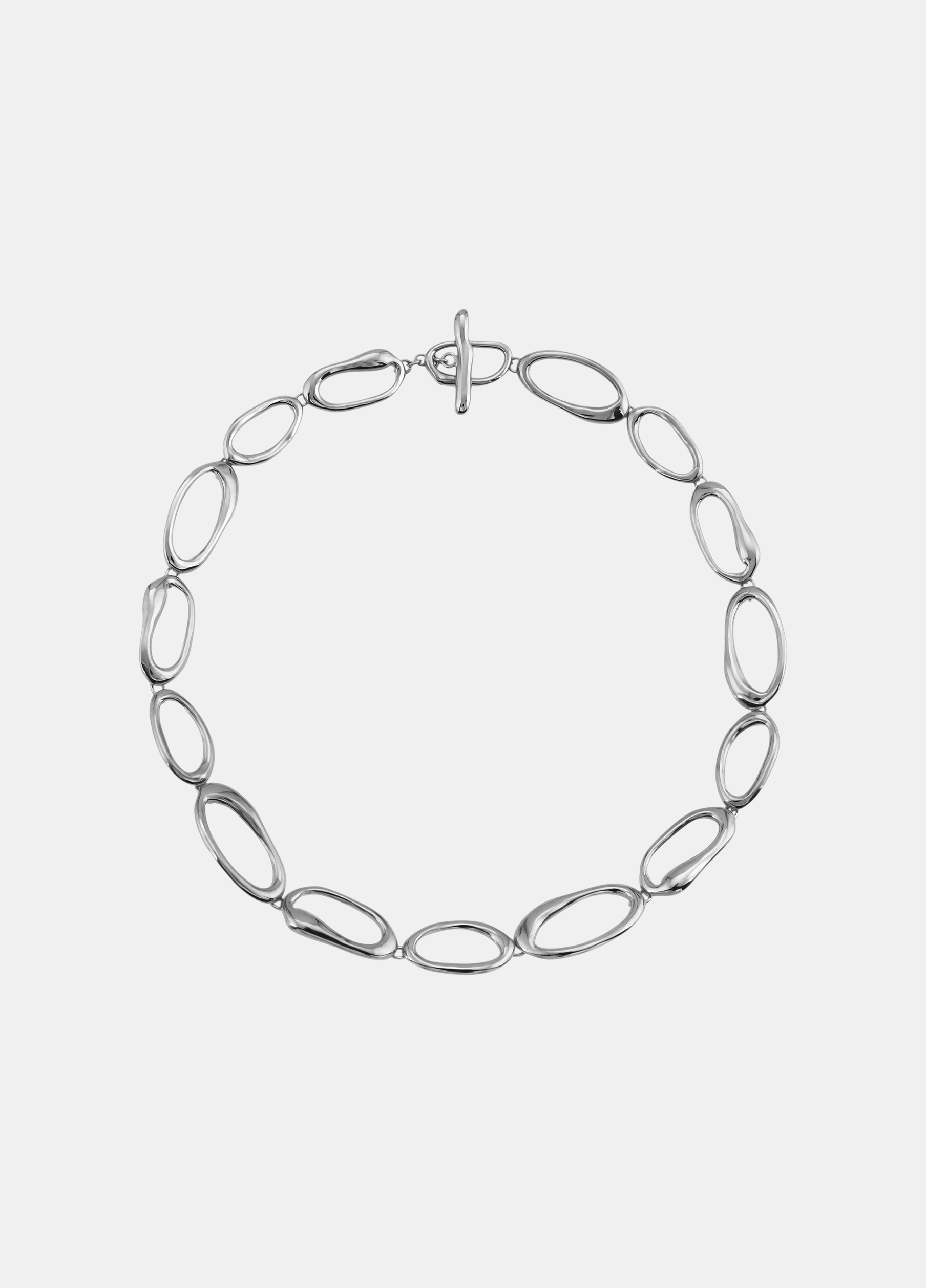 Modern Weaving / Hand Formed Mini Oval Link Chain Necklace