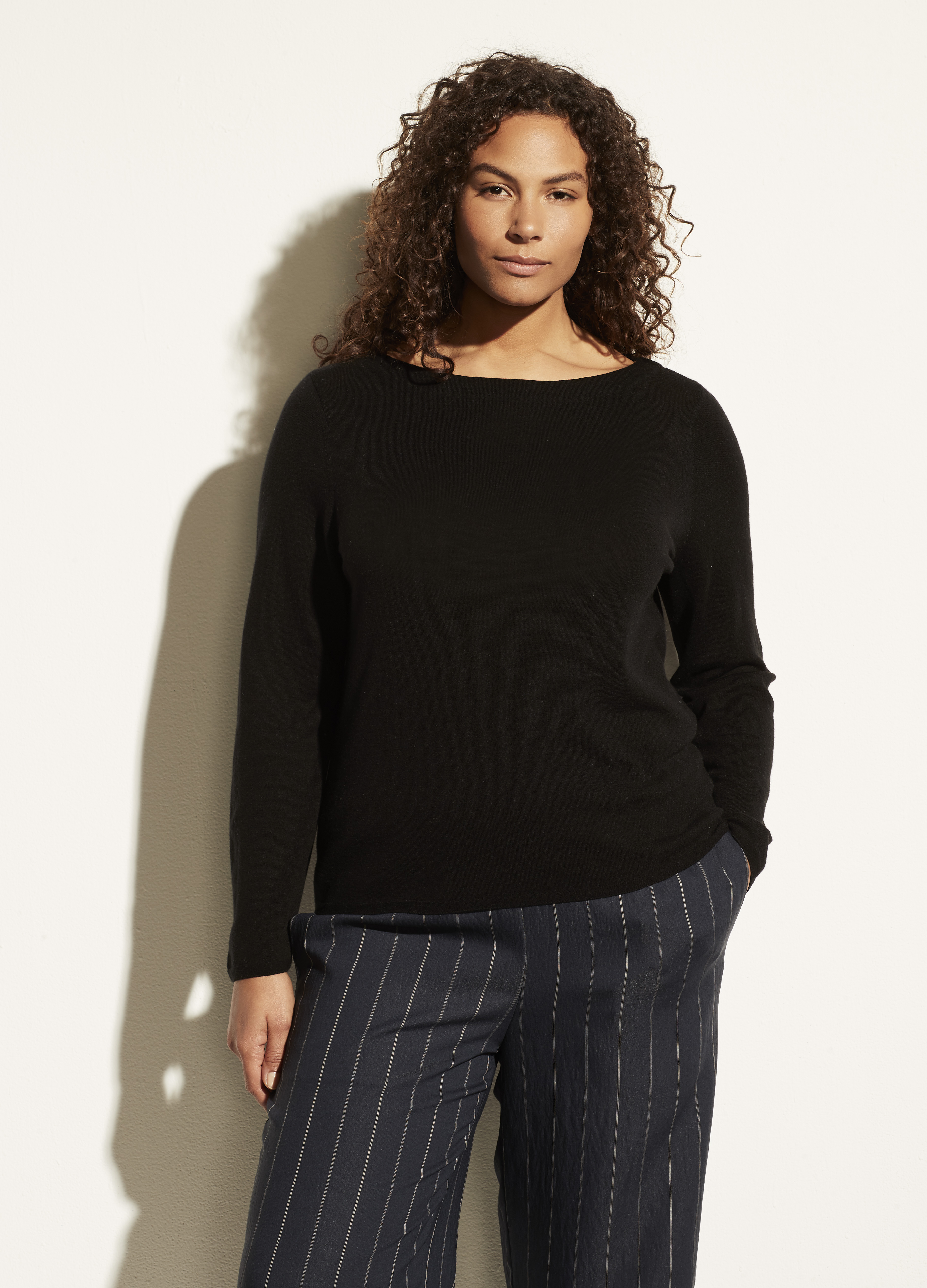 Rib Trim Boat Neck Long Sleeve