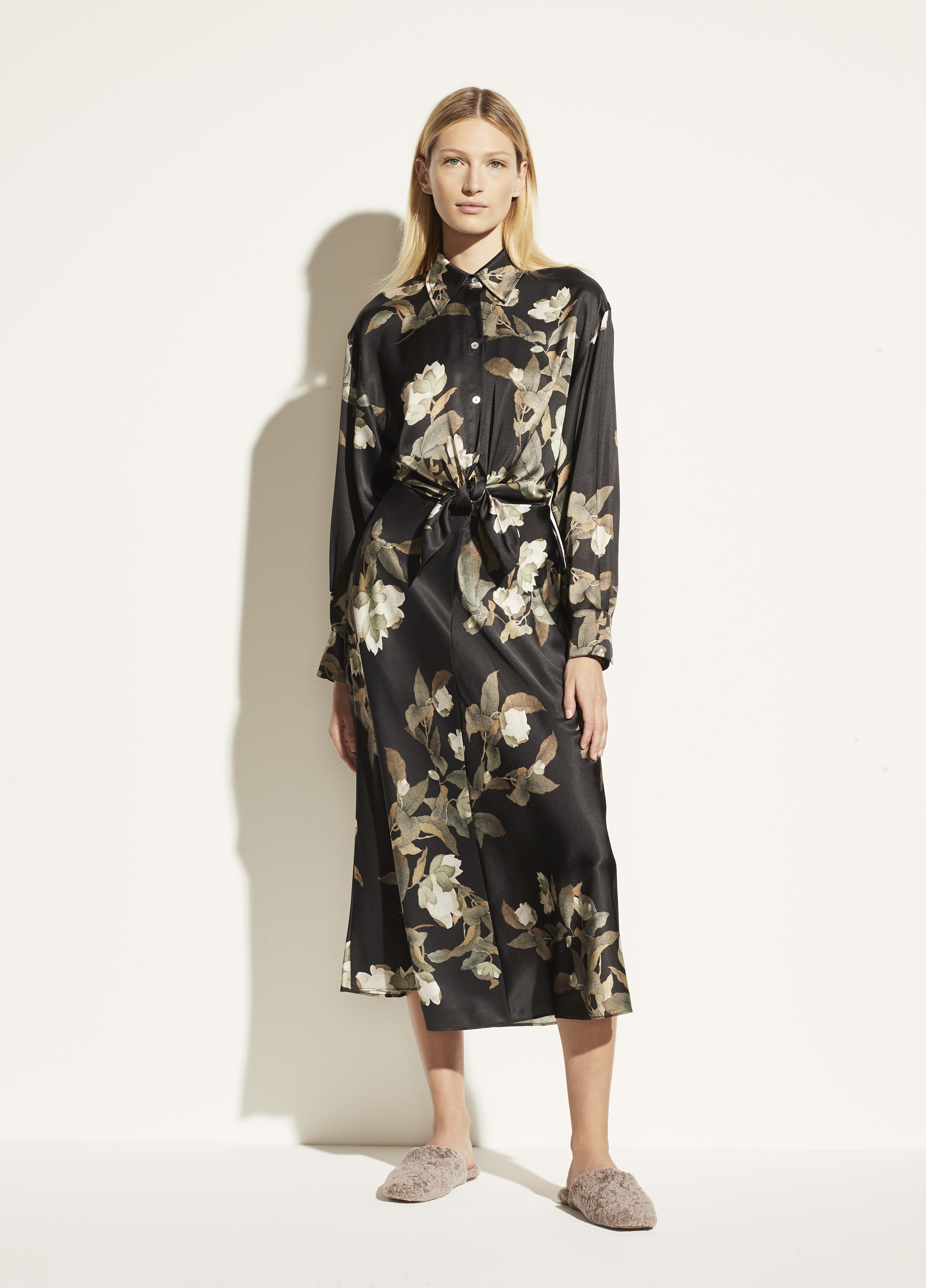 Lisianthus Tie Front Satin Shirt Dress