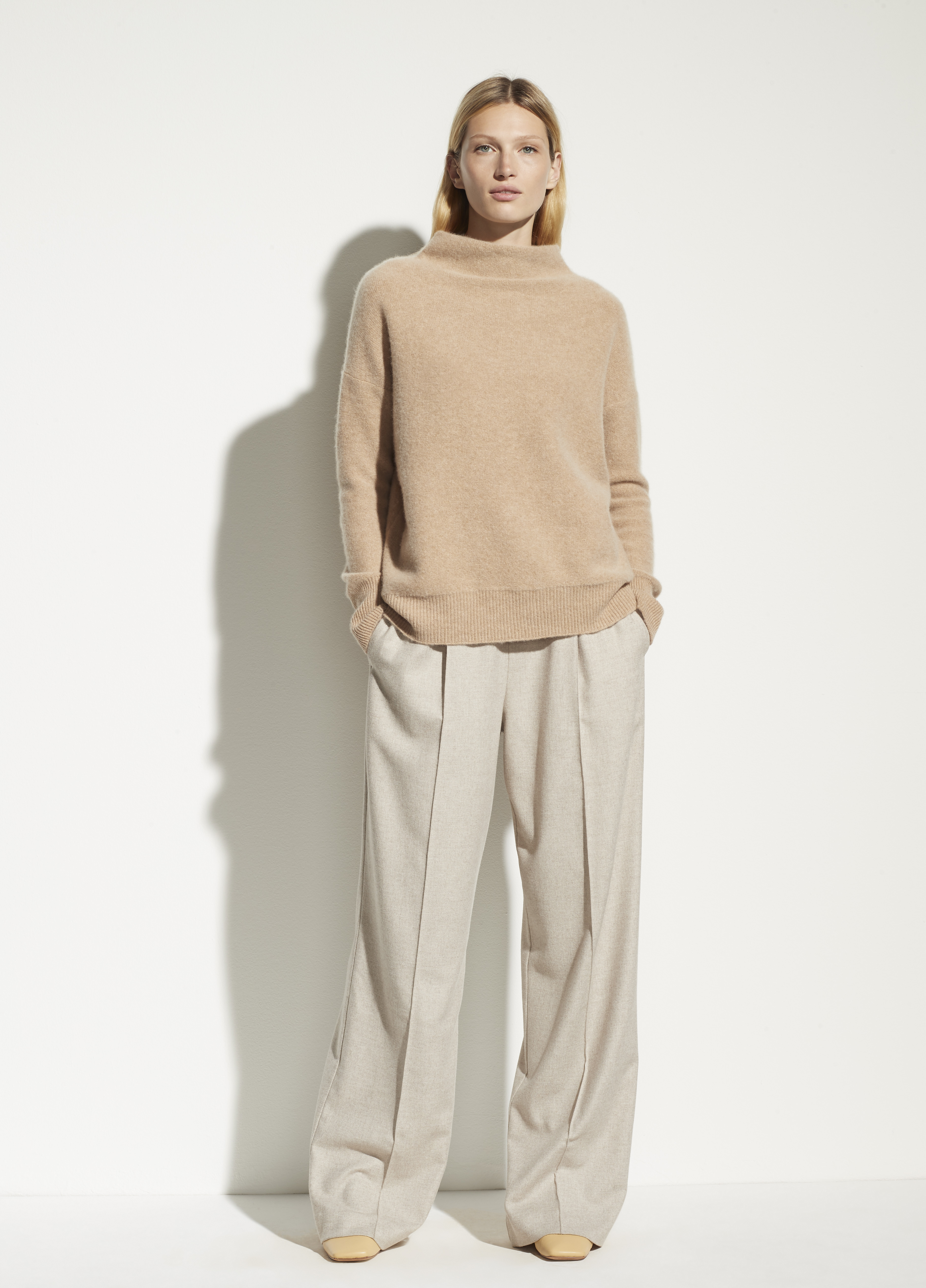 Boiled Cashmere Funnel Neck Pullover