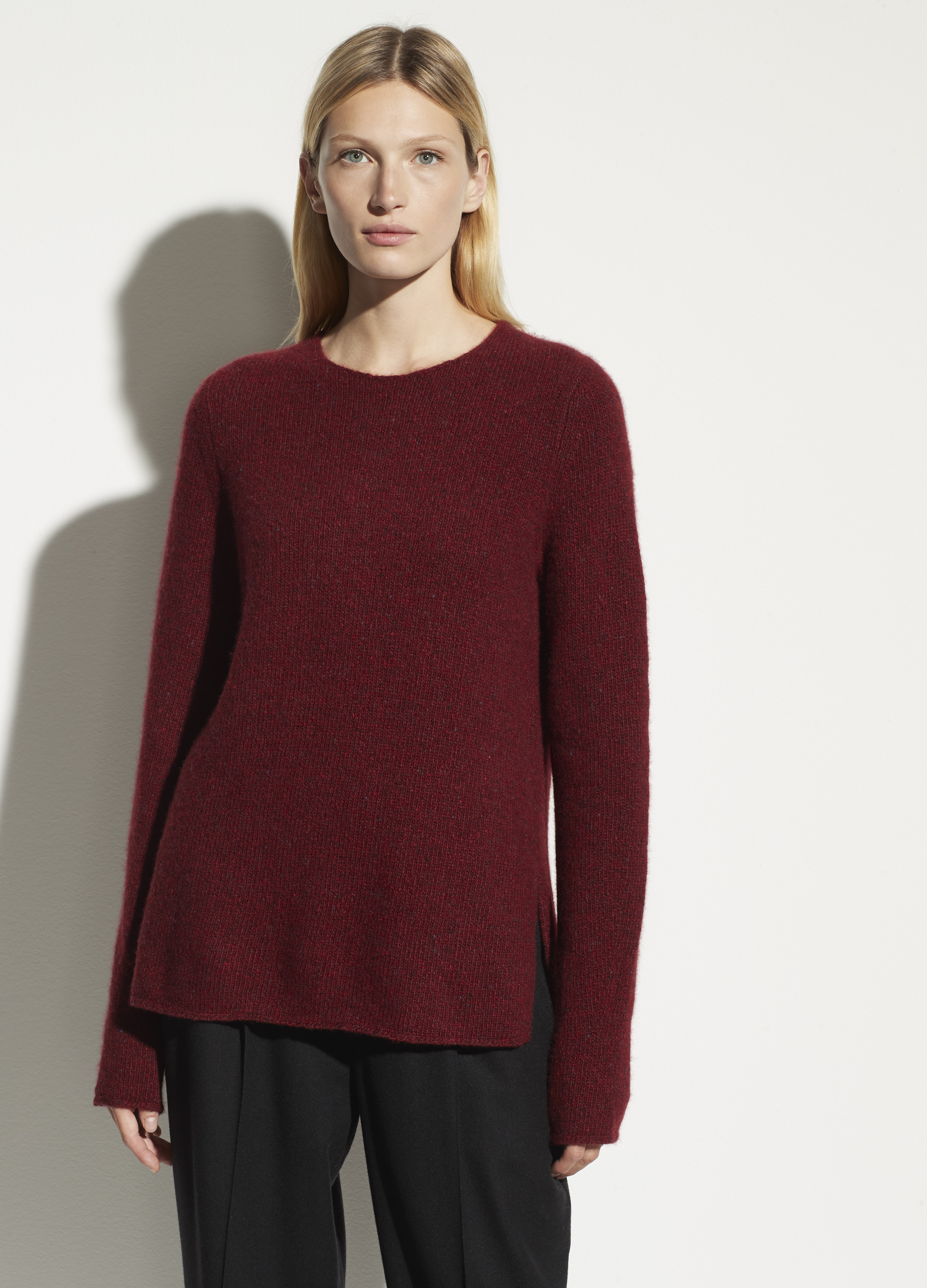 Cashmere Donegal Double Slit Crew