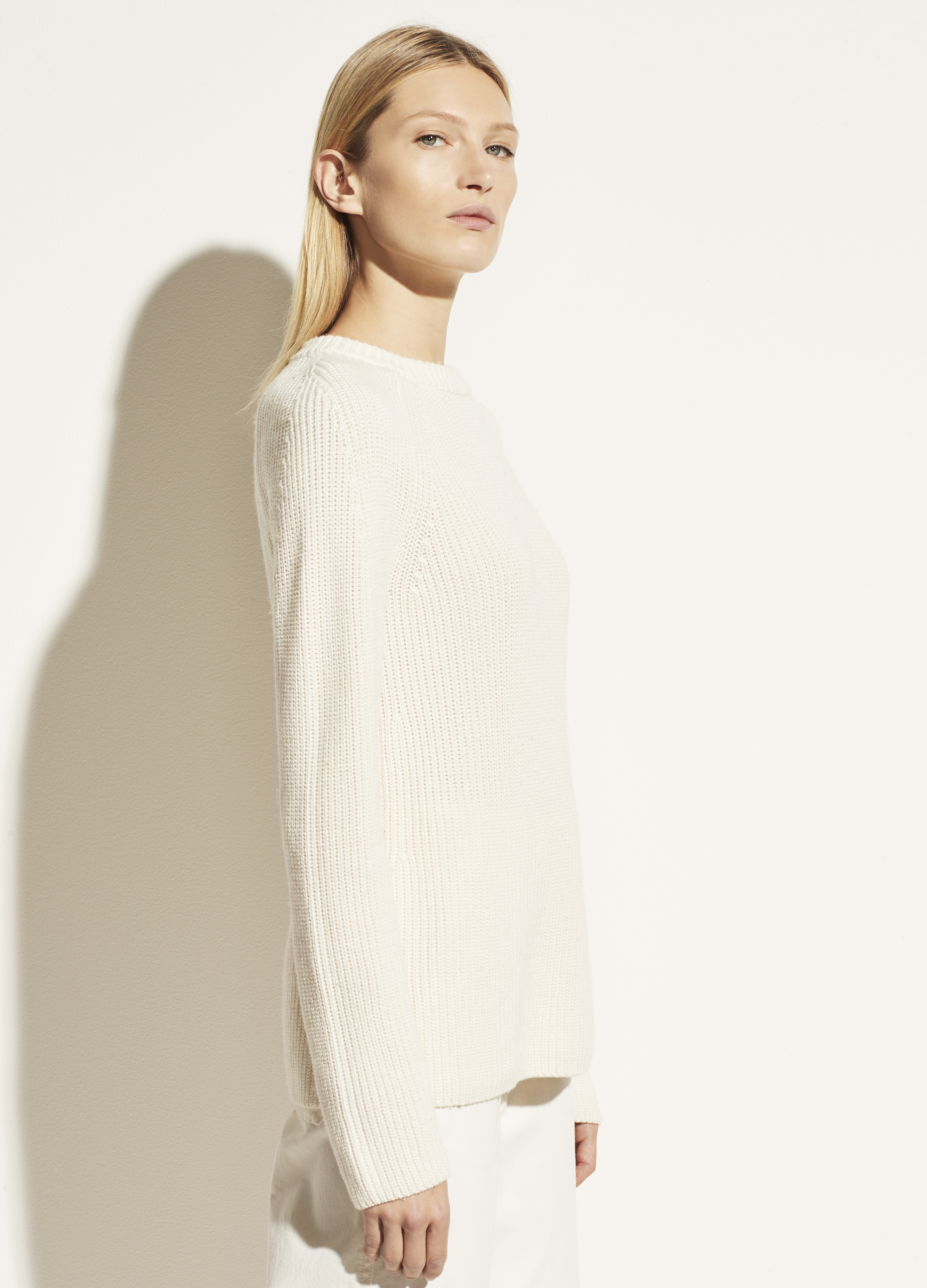 Ribbed Cotton Cashmere Crew