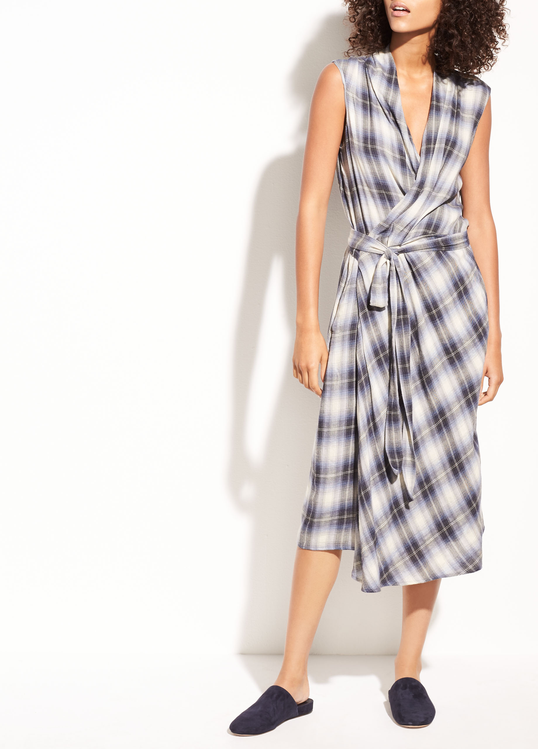 Top Shadow Plaid Sleeveless Cotton Wrap Dress for Women | Vince SE62