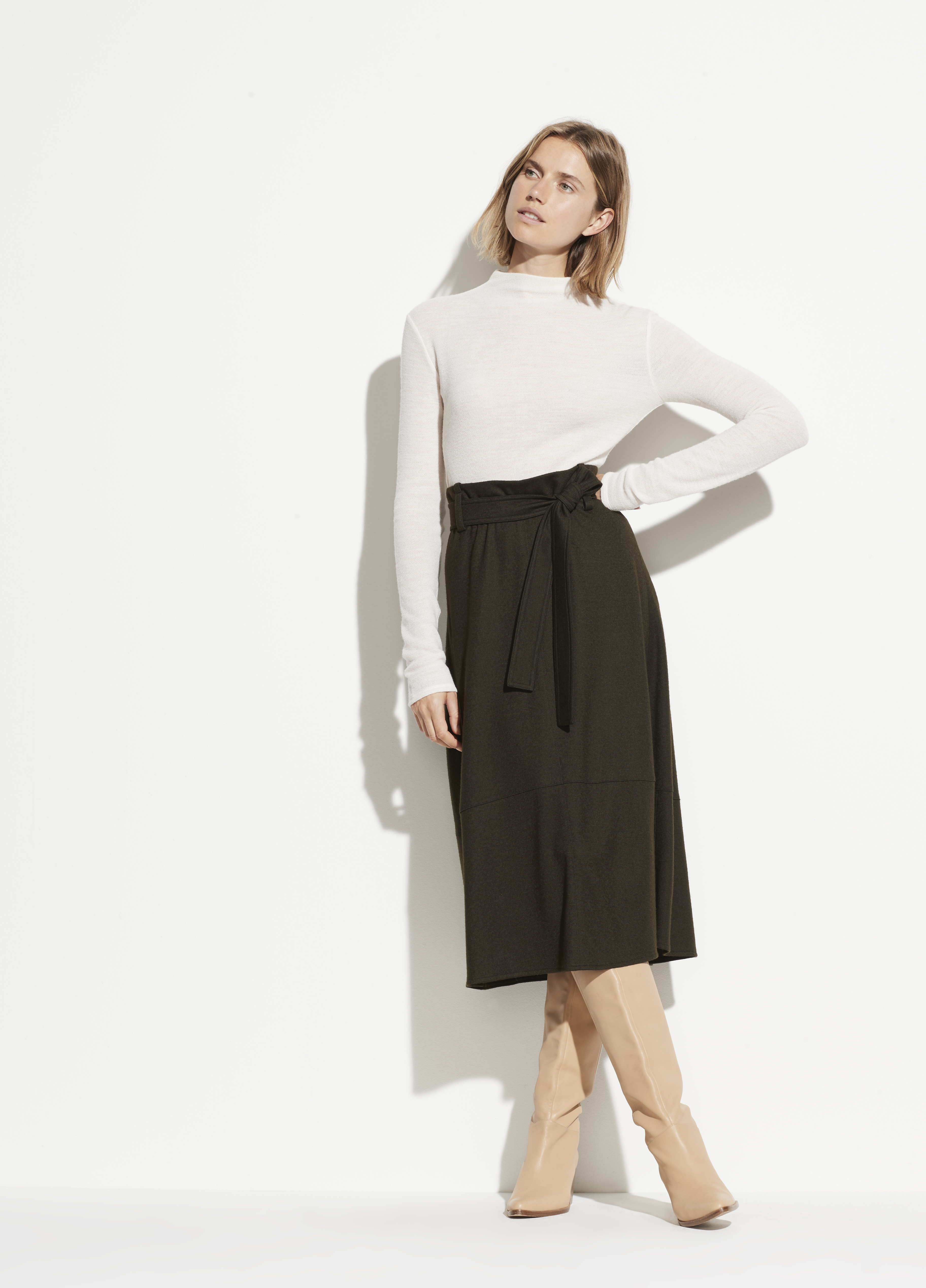 Textured Saddle Sleeve Turtleneck