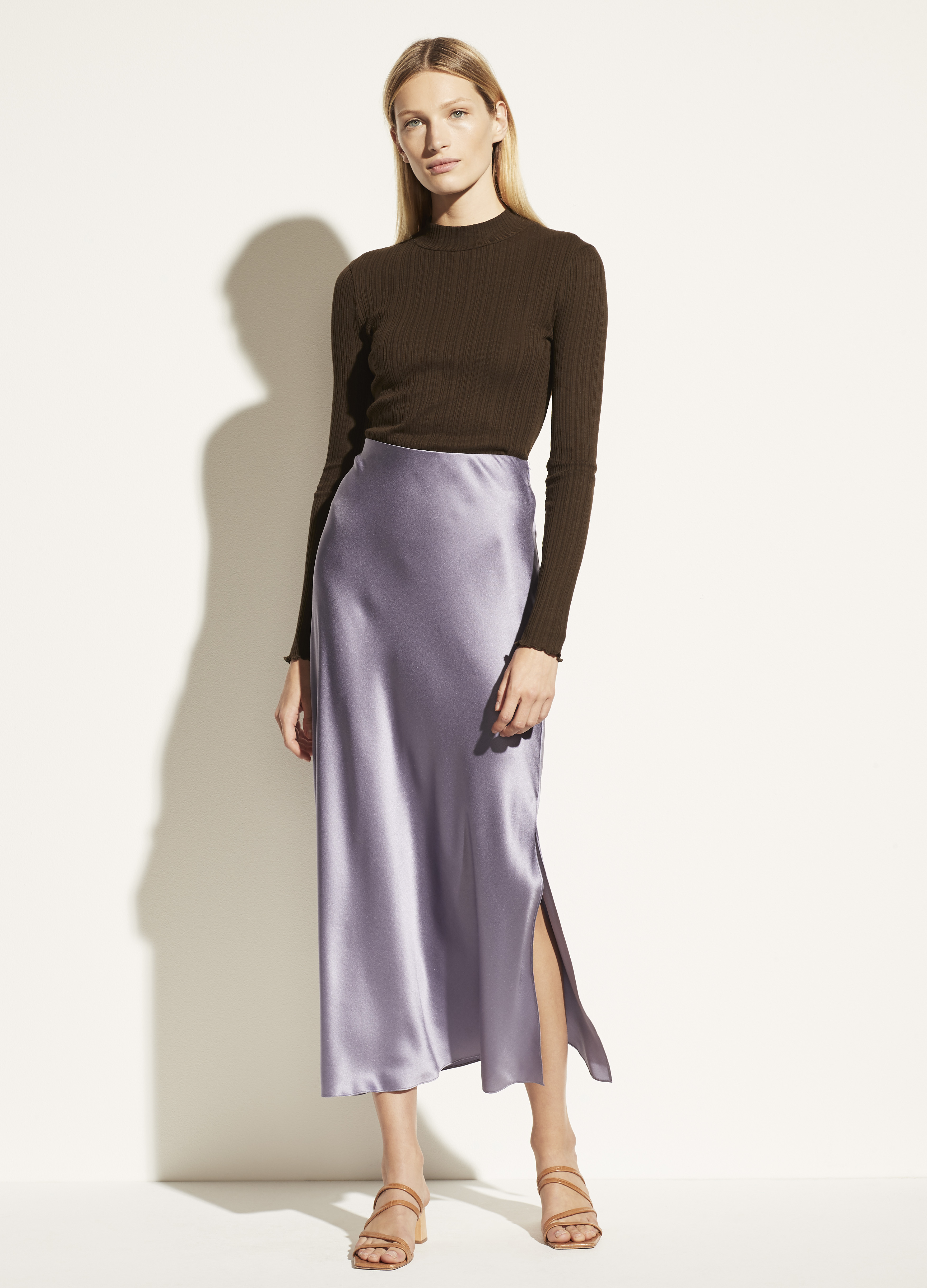 Side Slit Satin Slip Skirt