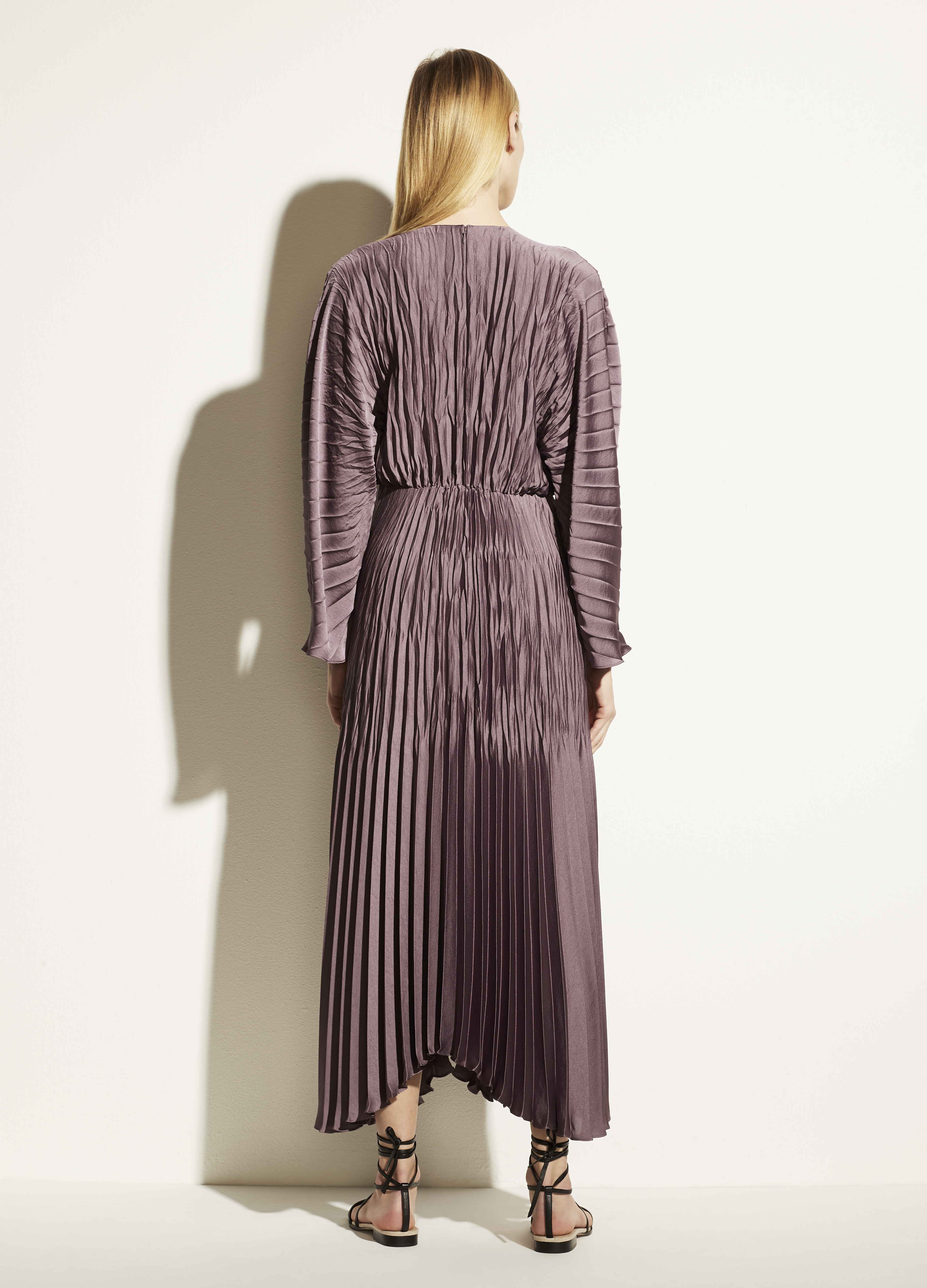 Pleated Dolman Sleeve Dress