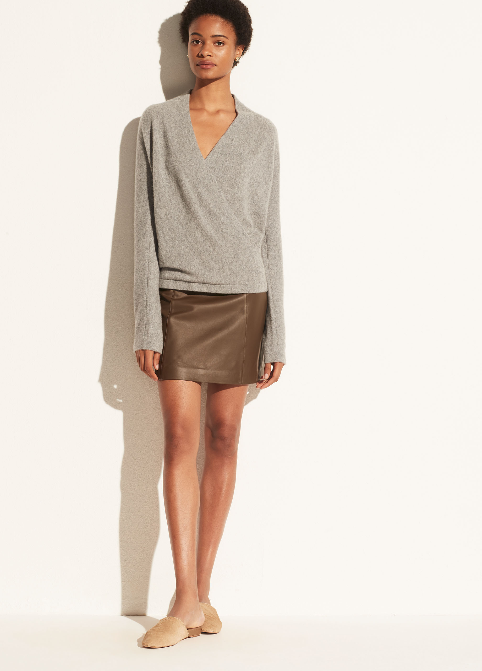 Boiled Cashmere Wrap Front Pullover