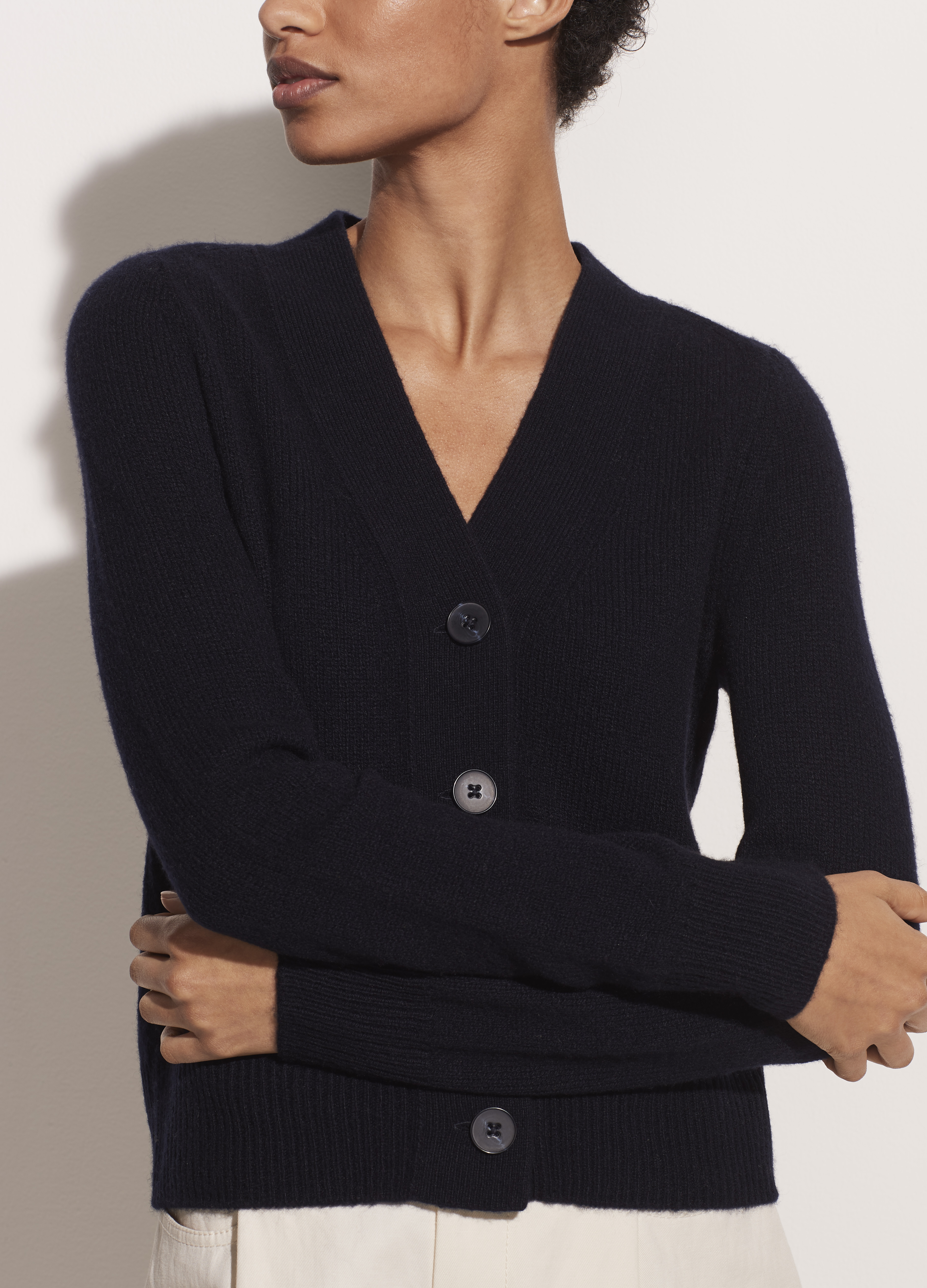 Cashmere Shrunken Button Cardigan