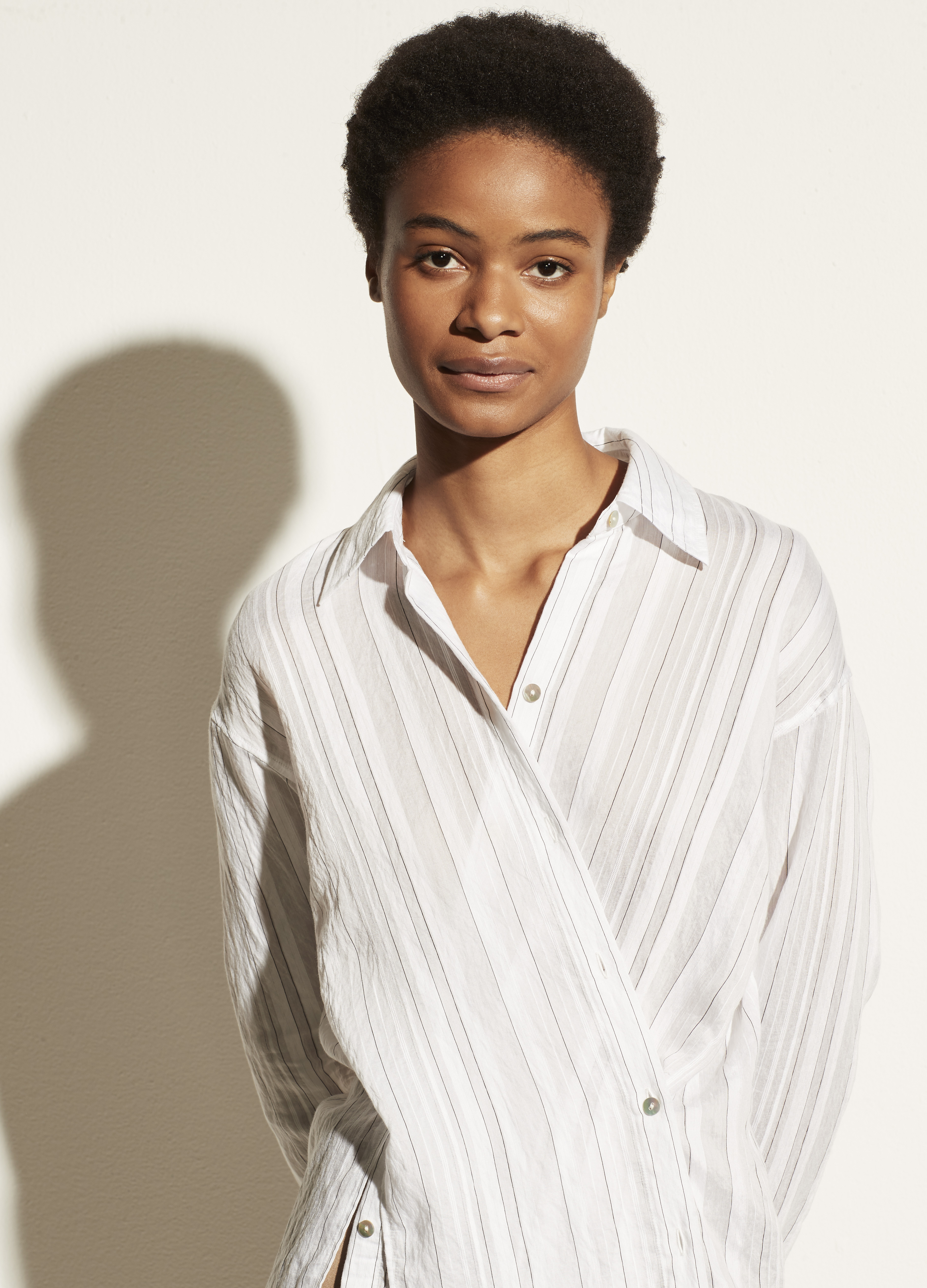 Drapey Stripe Convertible Button Down