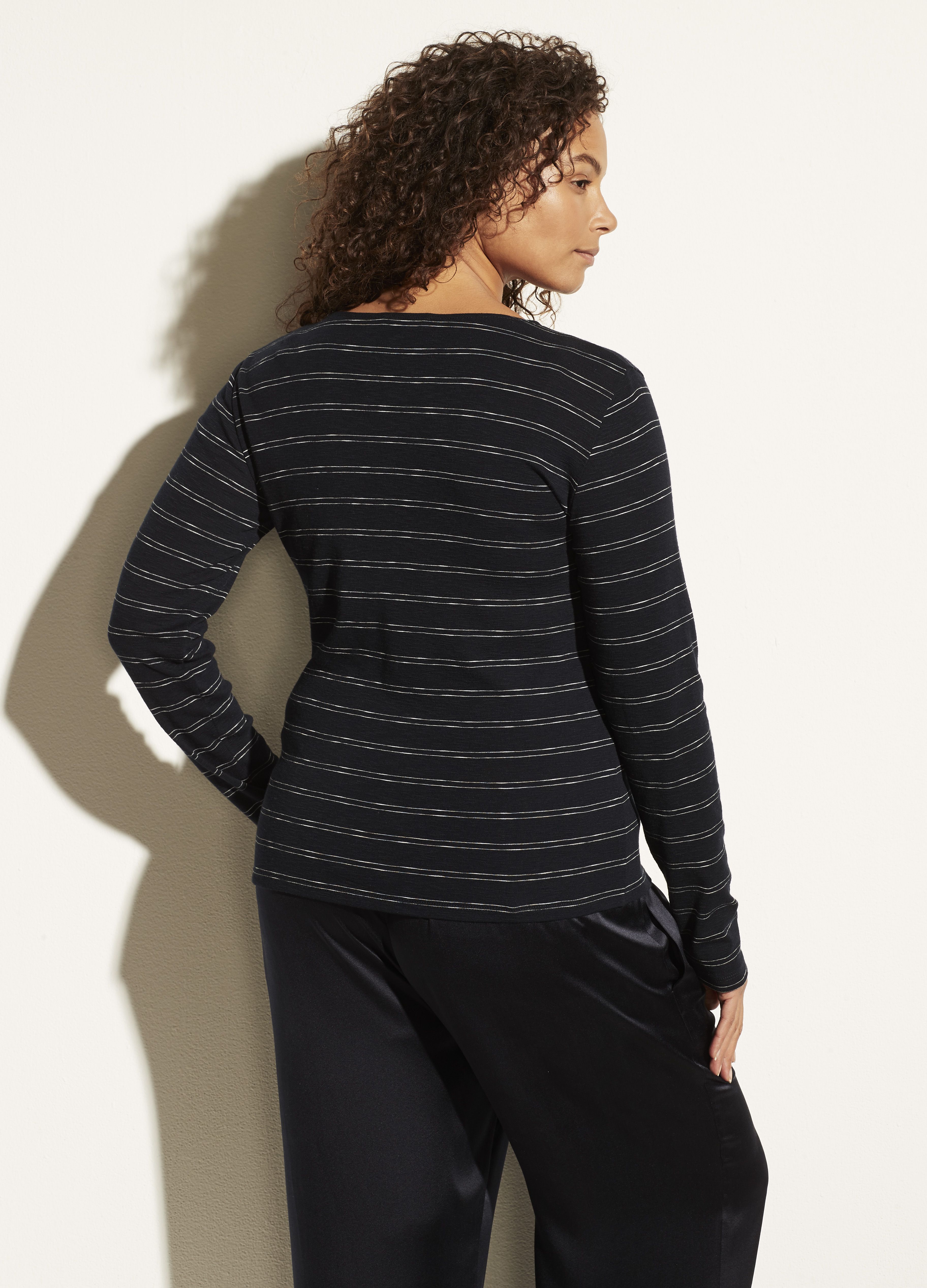 Double Pinstripe Long Sleeve Crew