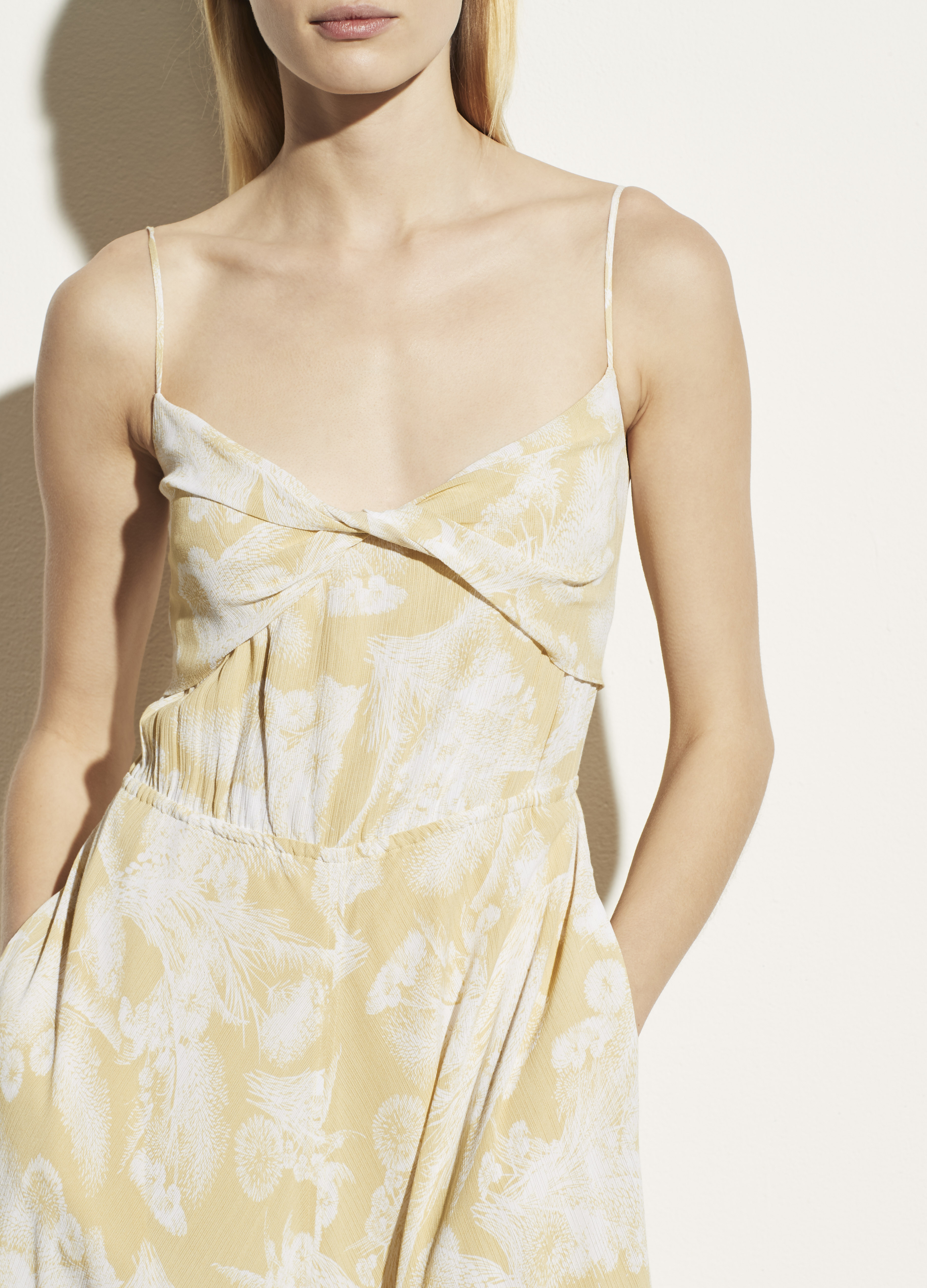 Wheat Twist Knot Drape Dress