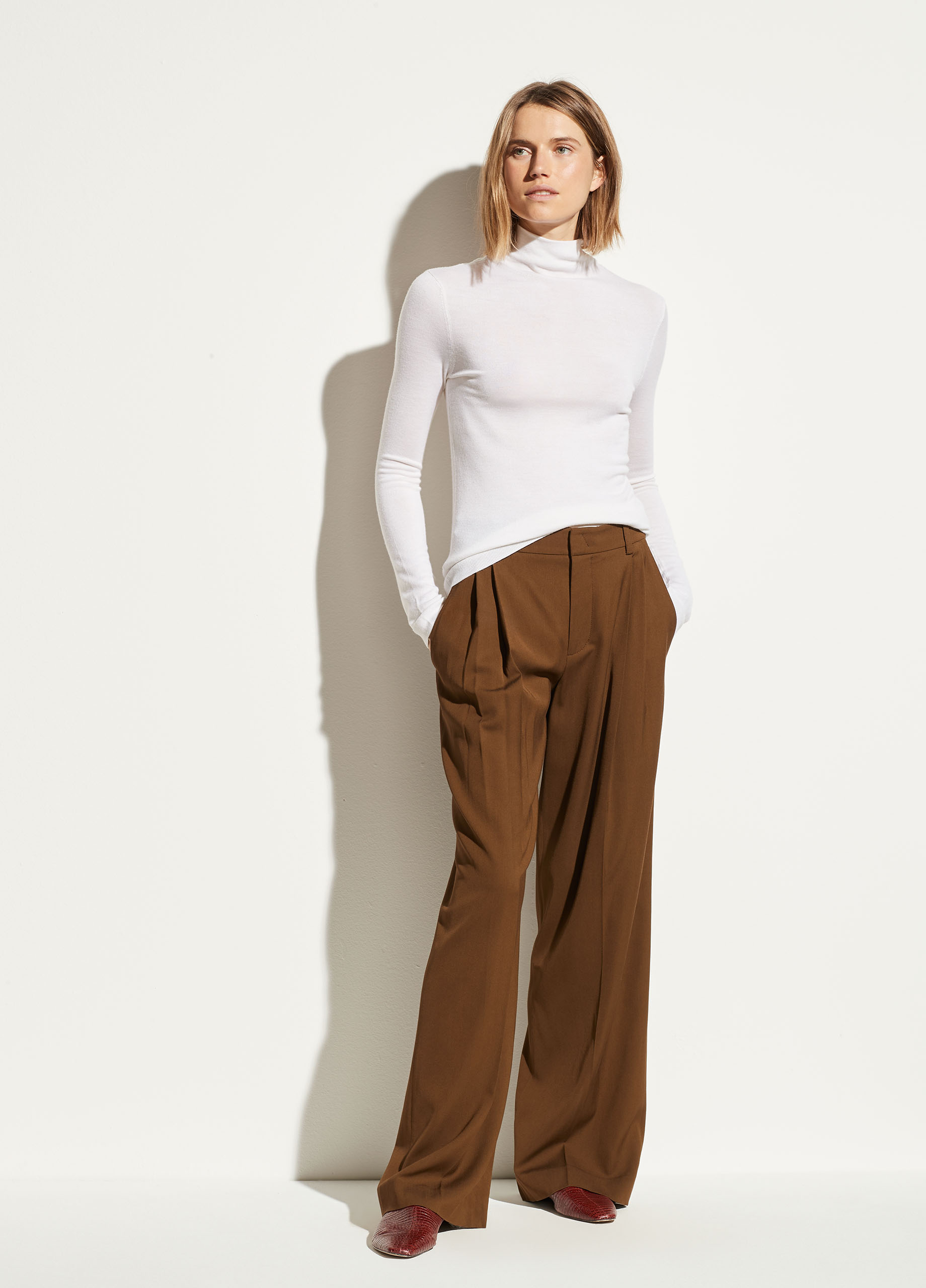 Nubuck Leather Wide Leg Pant
