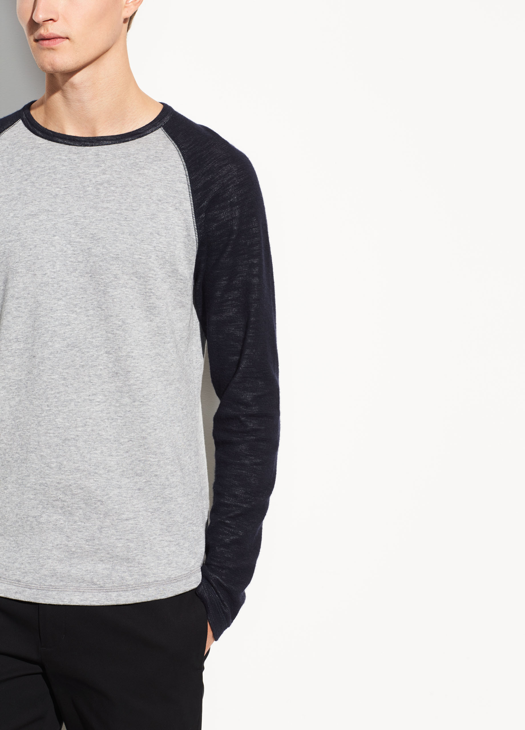 Color Block Double Knit Long Sleeve Crew