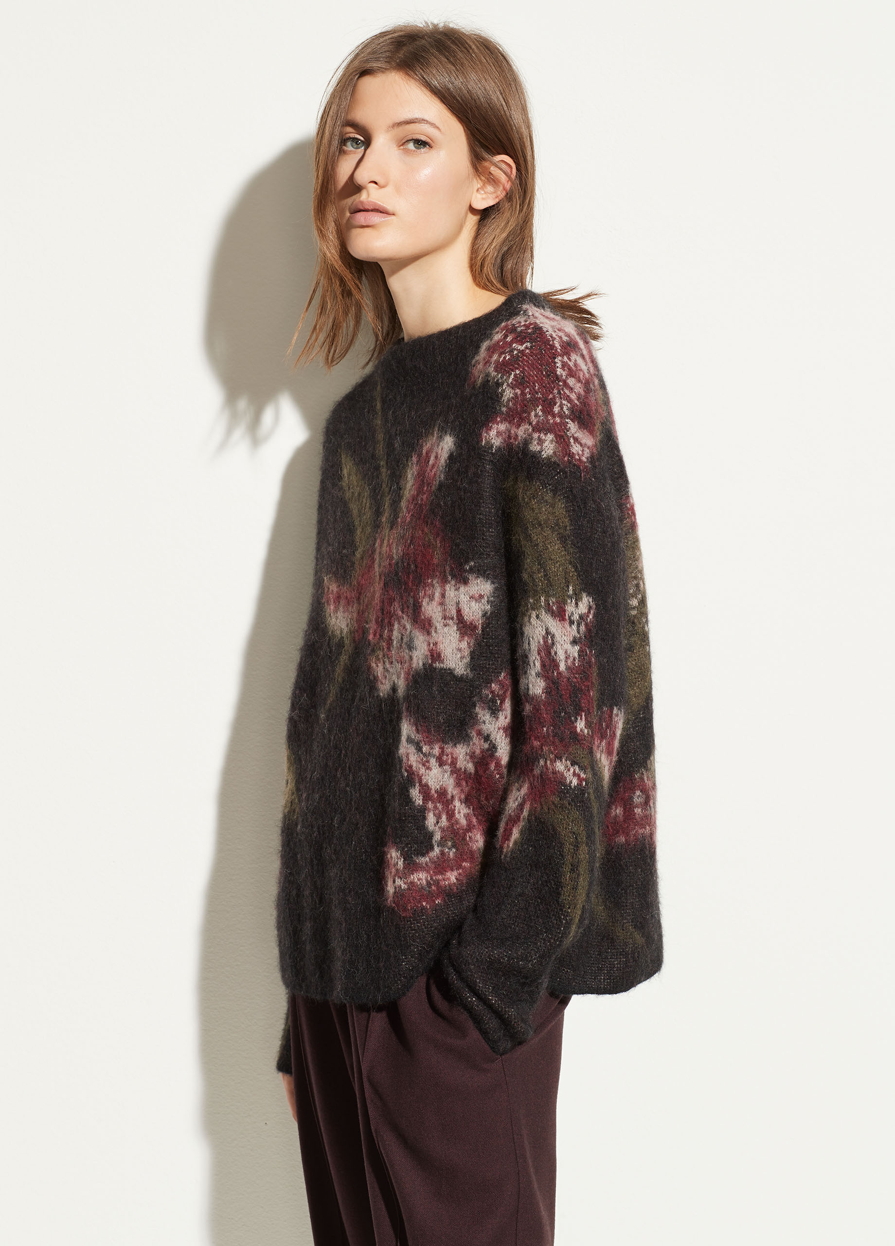 Floral Mohair Funnel Neck Pullover