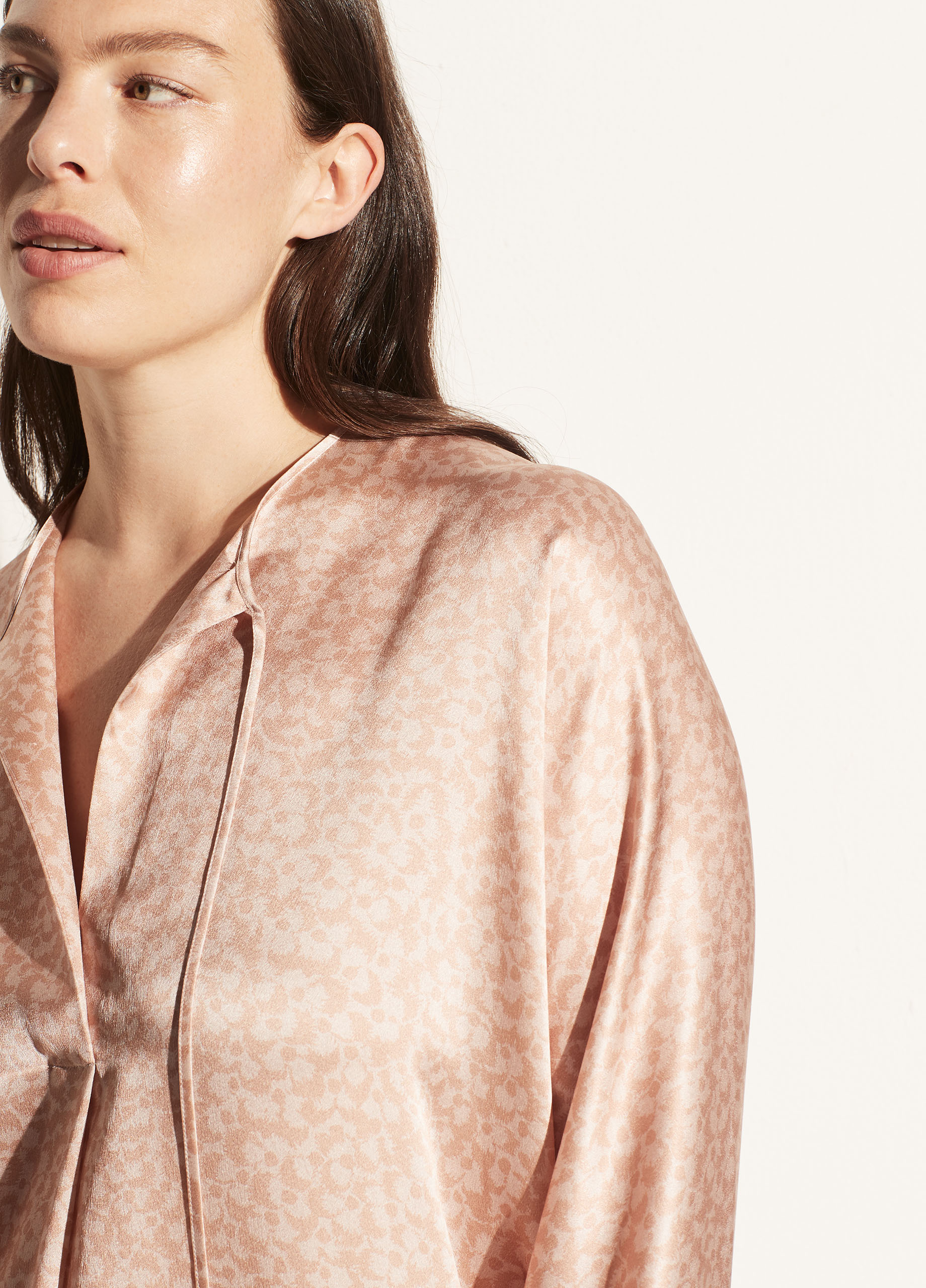 Feathered Petal Tie Neck Band Collar Blouse