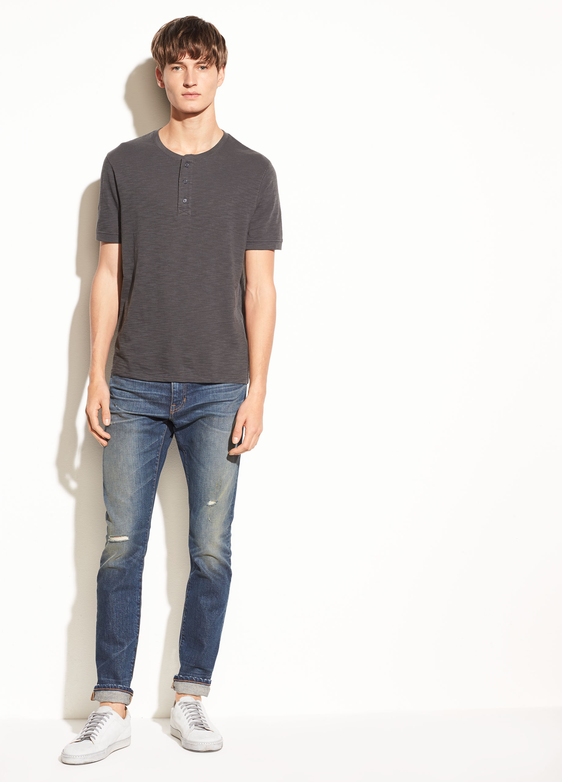 Slub Cotton Short Sleeve Henley