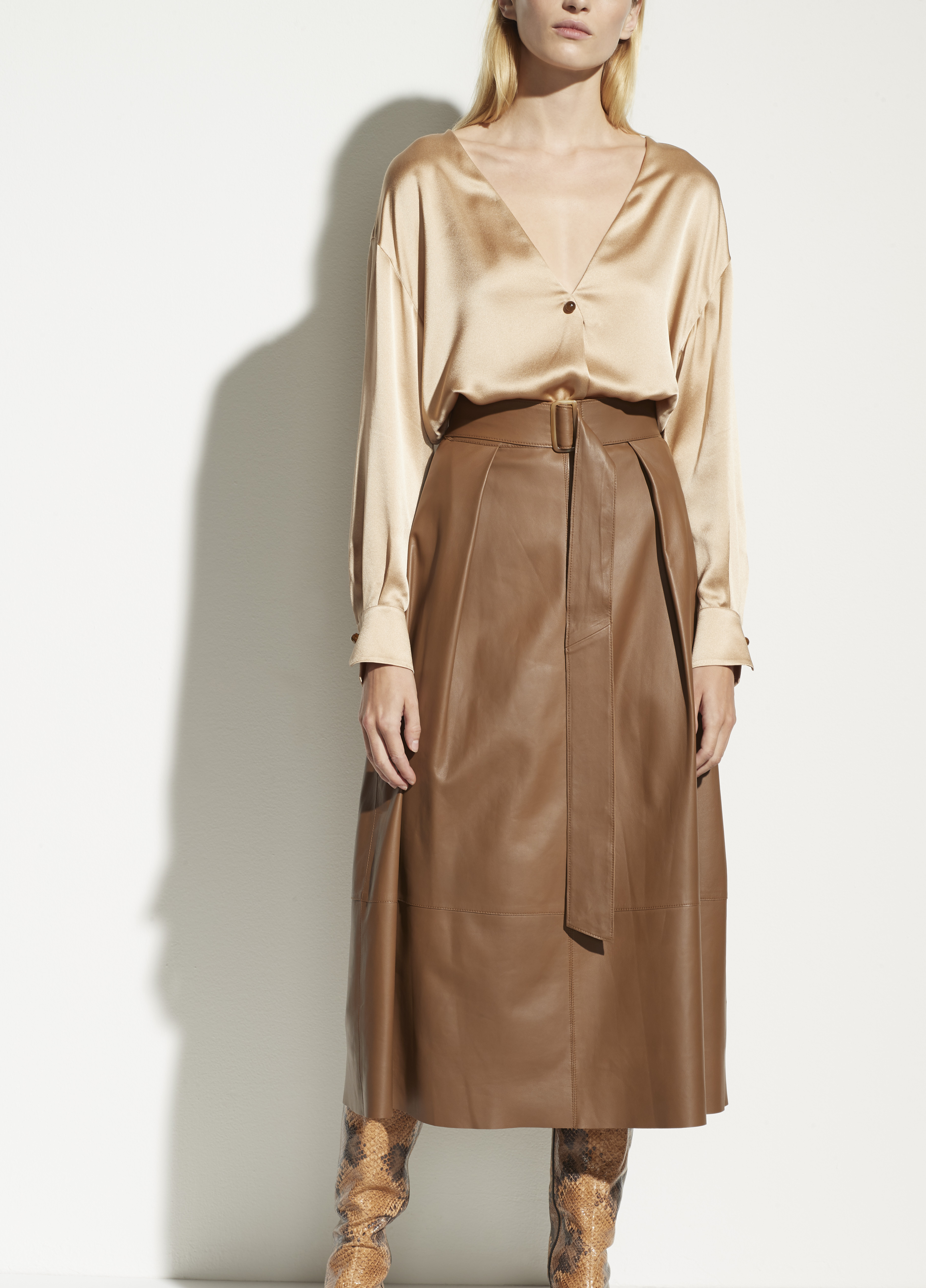 Leather Belted Skirt